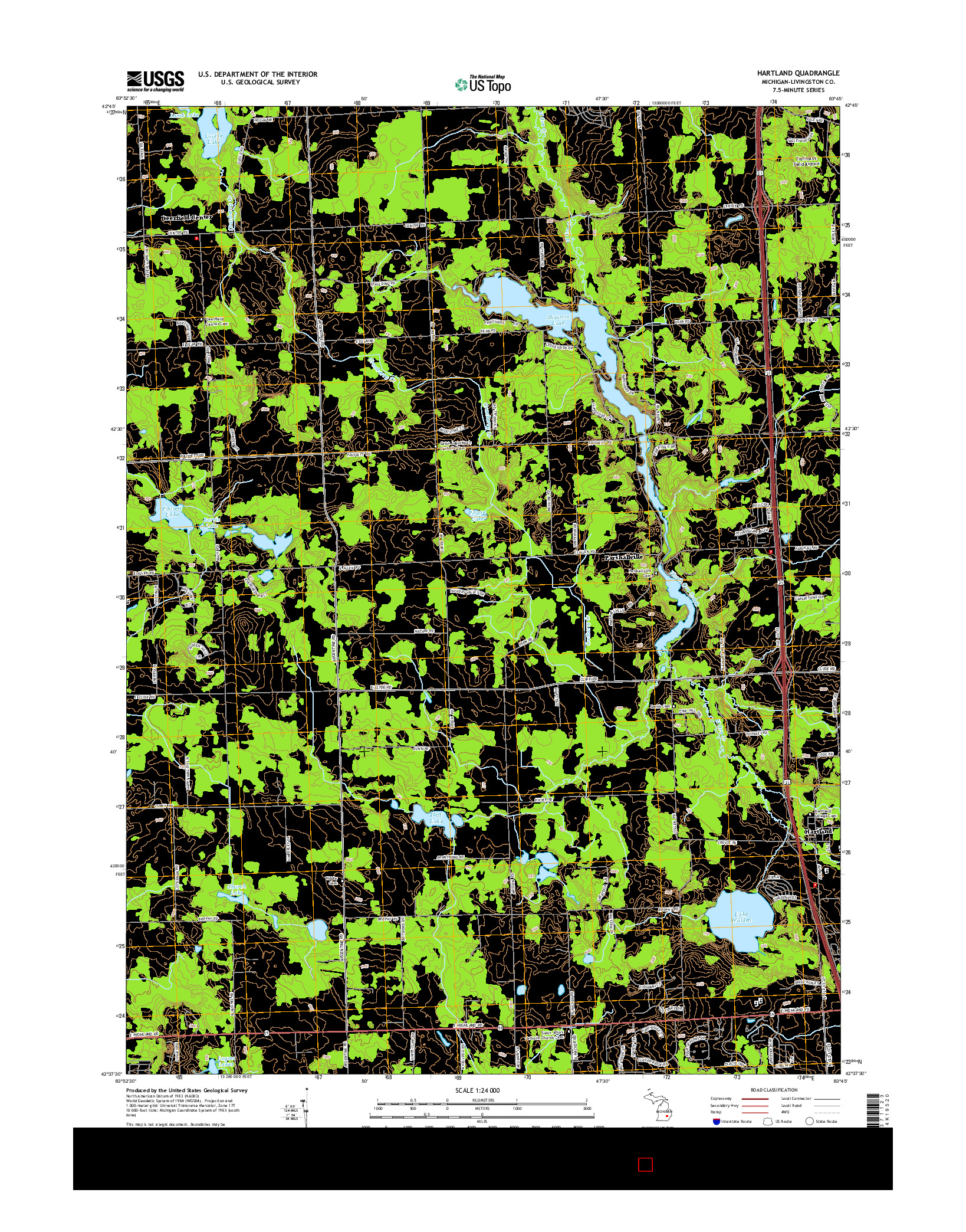 USGS US TOPO 7.5-MINUTE MAP FOR HARTLAND, MI 2014