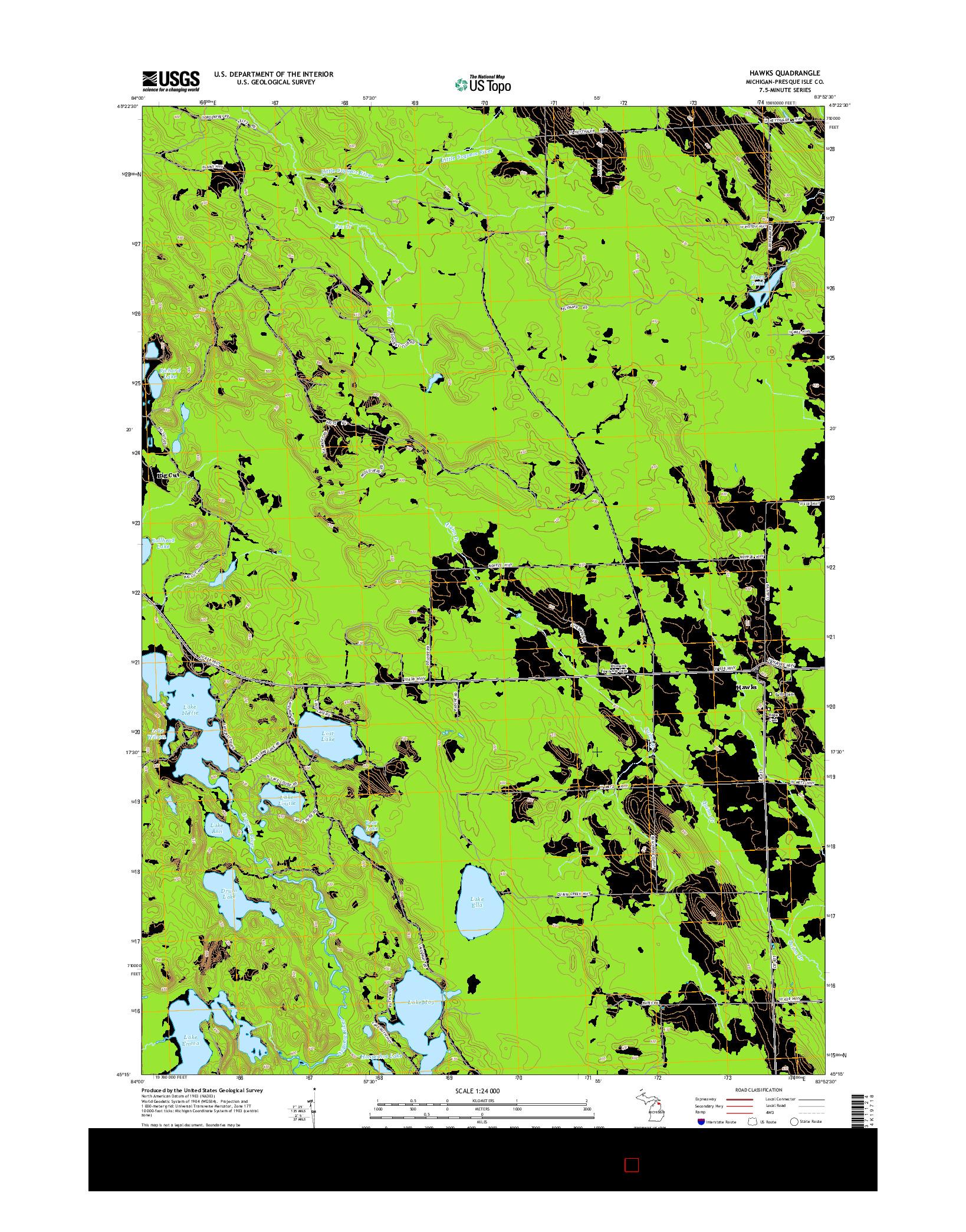 USGS US TOPO 7.5-MINUTE MAP FOR HAWKS, MI 2014
