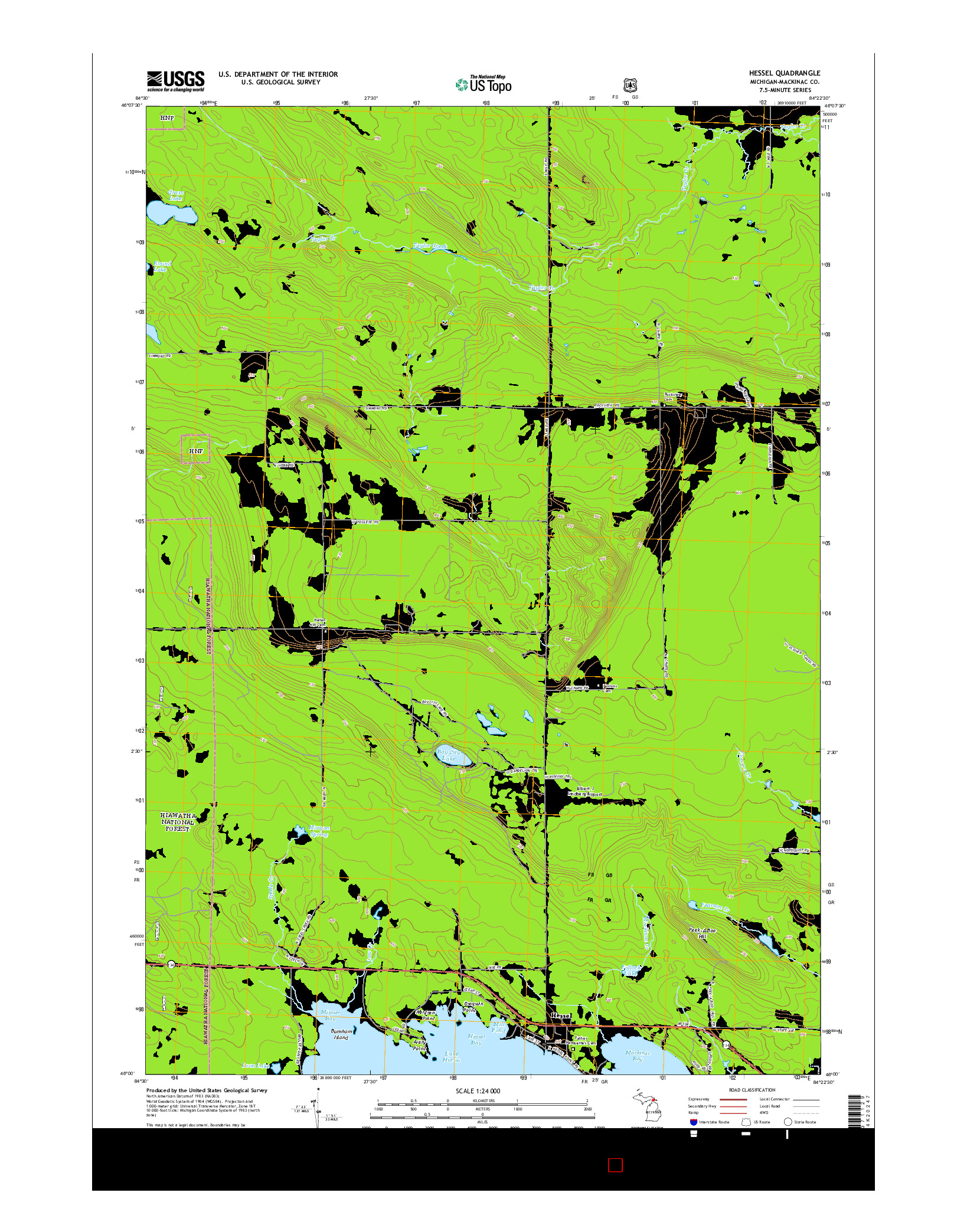 USGS US TOPO 7.5-MINUTE MAP FOR HESSEL, MI 2014
