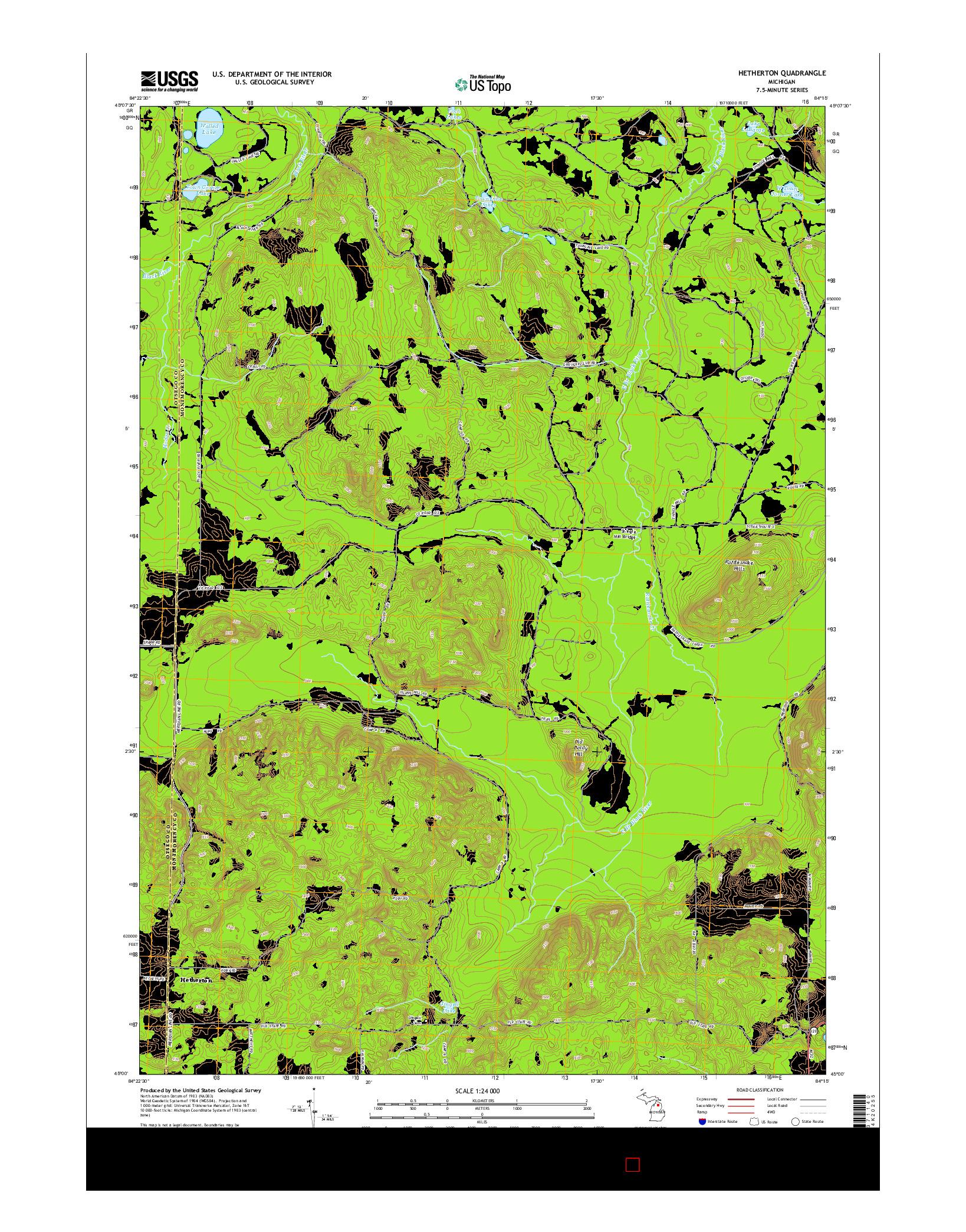 USGS US TOPO 7.5-MINUTE MAP FOR HETHERTON, MI 2014