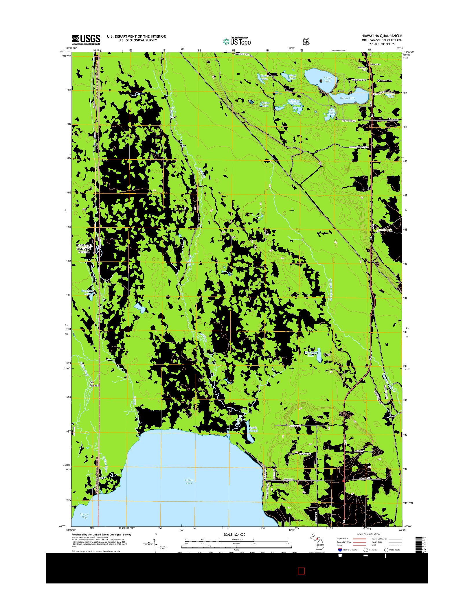 USGS US TOPO 7.5-MINUTE MAP FOR HIAWATHA, MI 2014