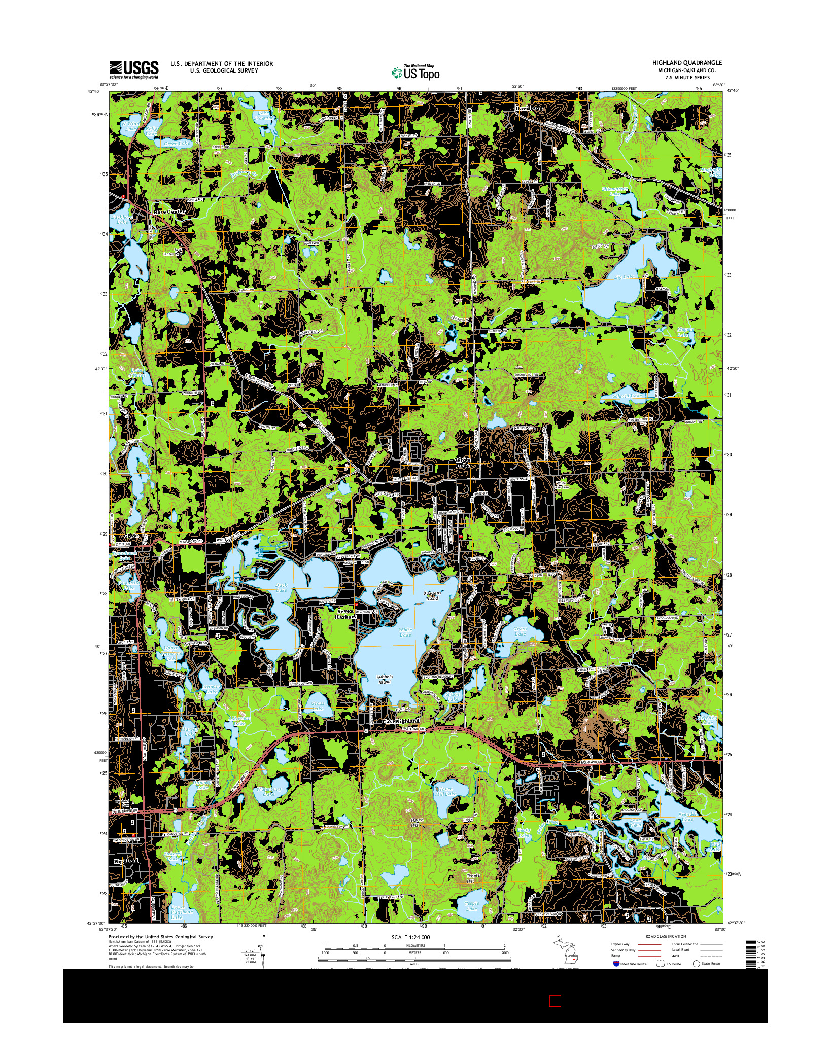 USGS US TOPO 7.5-MINUTE MAP FOR HIGHLAND, MI 2014