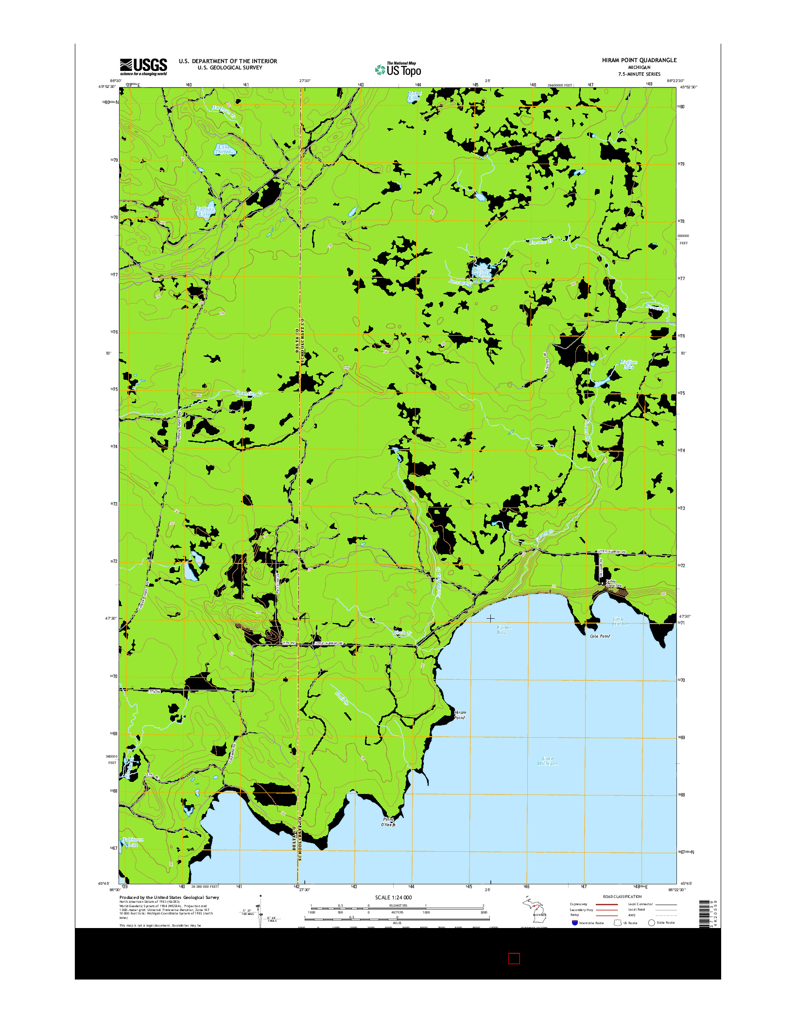 USGS US TOPO 7.5-MINUTE MAP FOR HIRAM POINT, MI 2014