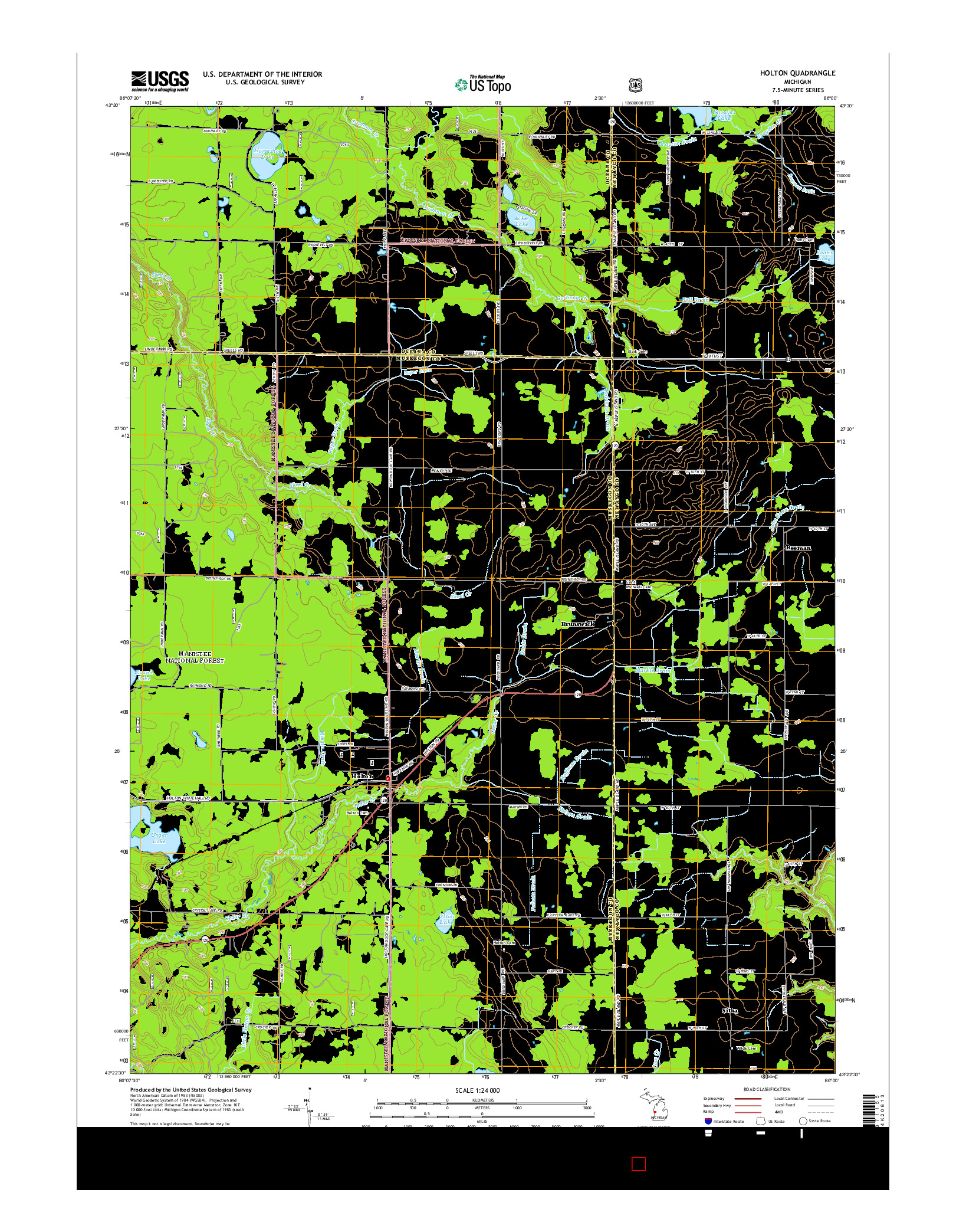 USGS US TOPO 7.5-MINUTE MAP FOR HOLTON, MI 2014