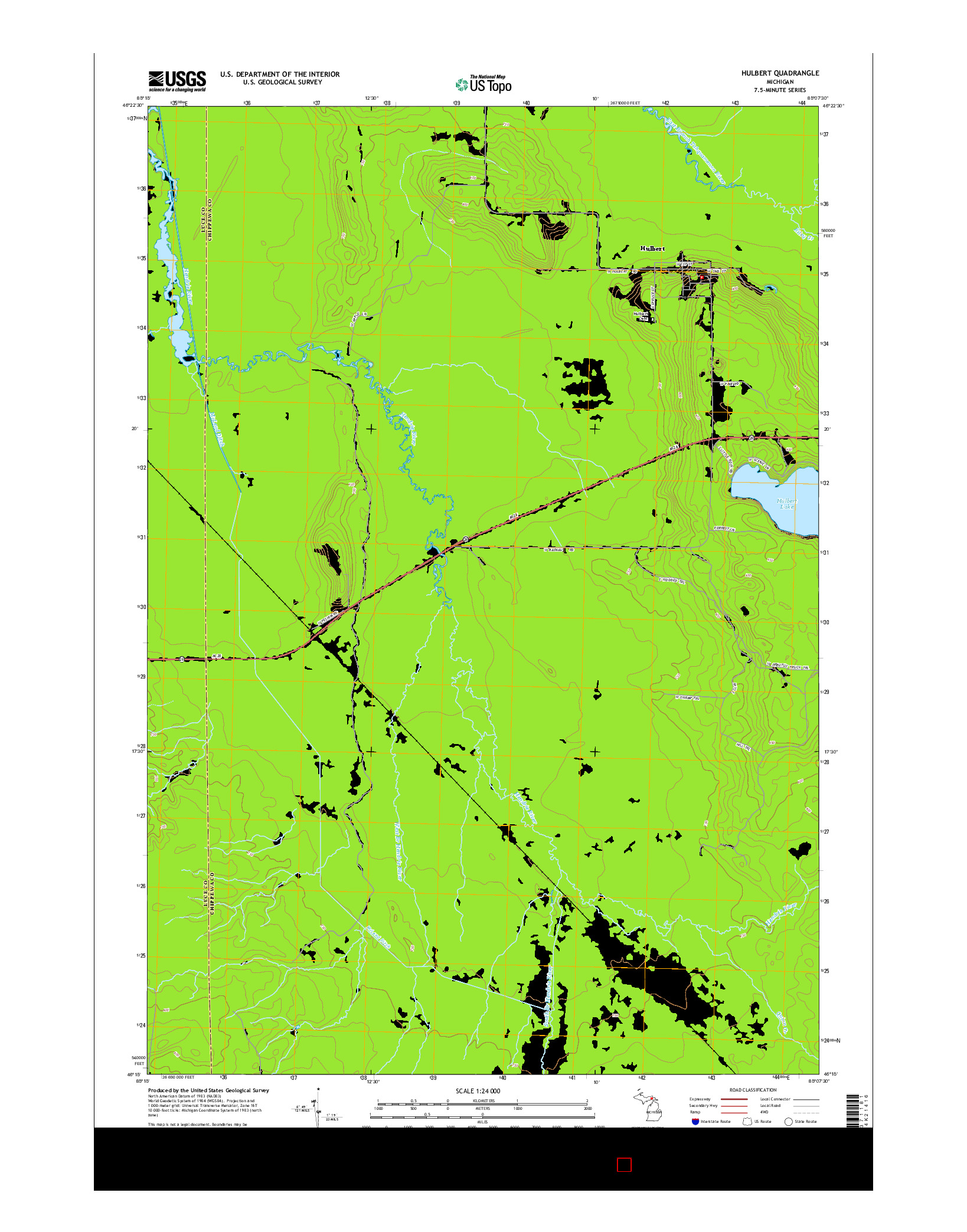 USGS US TOPO 7.5-MINUTE MAP FOR HULBERT, MI 2014