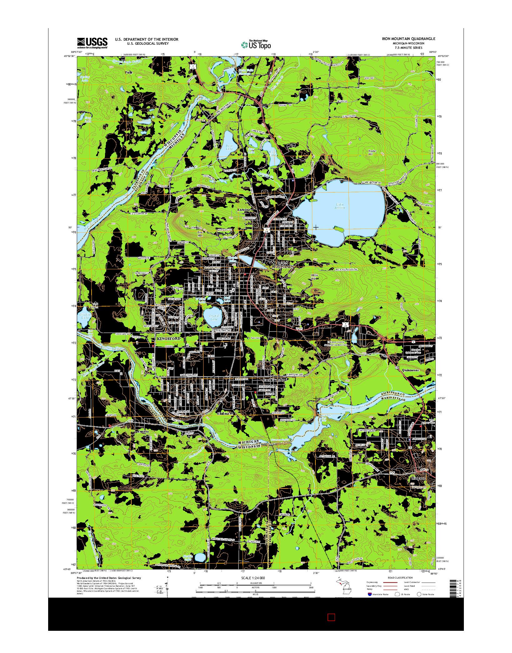 USGS US TOPO 7.5-MINUTE MAP FOR IRON MOUNTAIN, MI-WI 2014