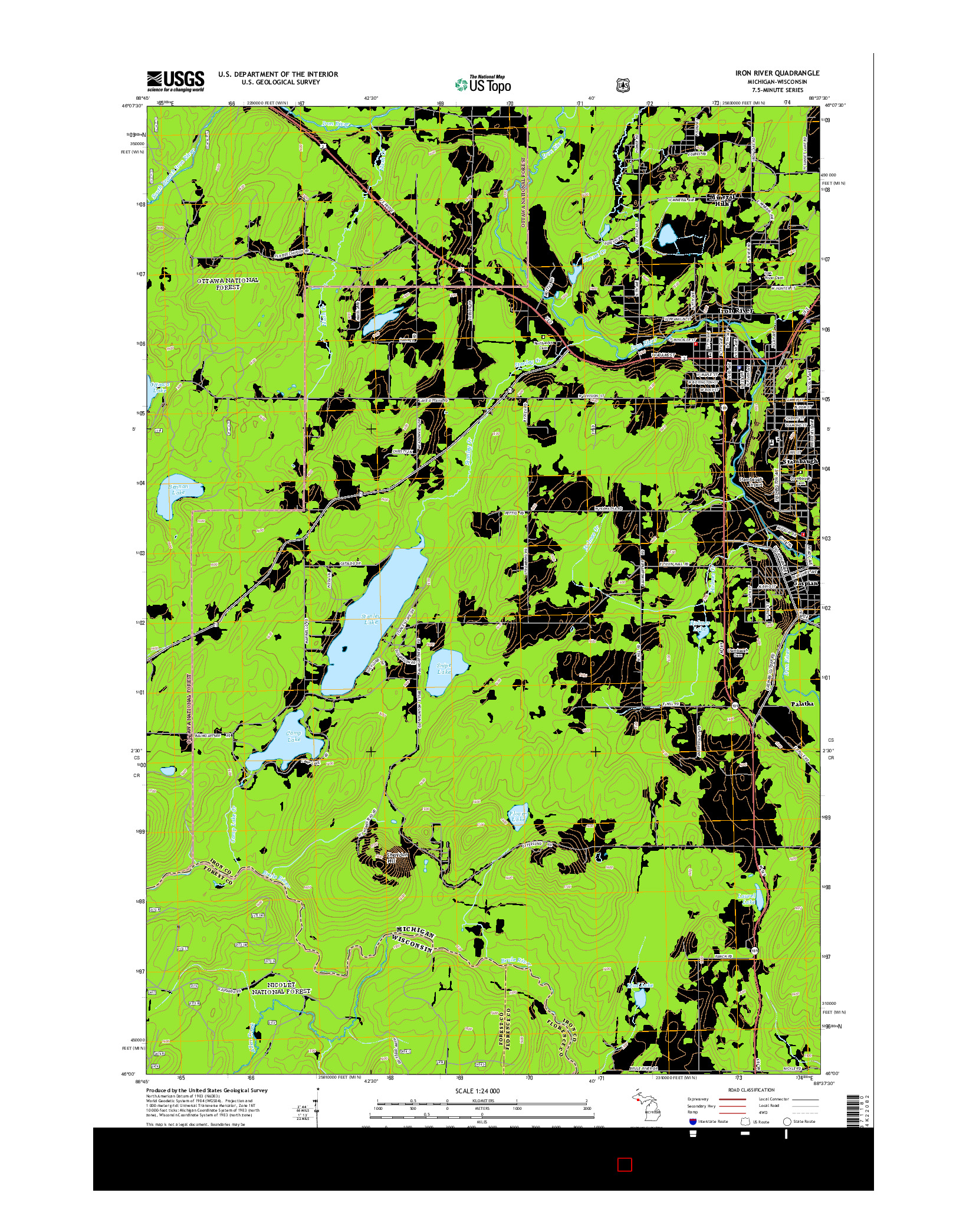 USGS US TOPO 7.5-MINUTE MAP FOR IRON RIVER, MI-WI 2014