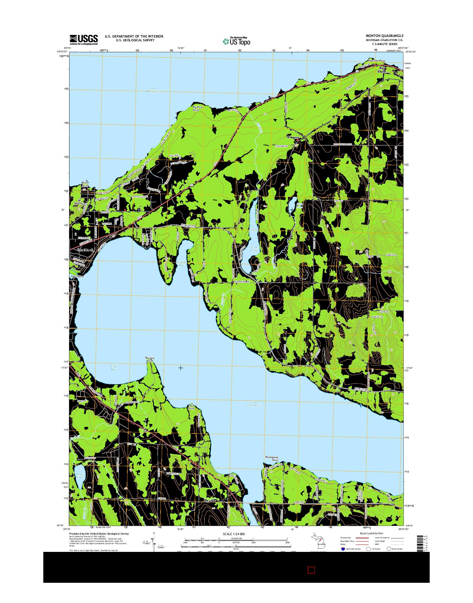 USGS US TOPO 7.5-MINUTE MAP FOR IRONTON, MI 2014
