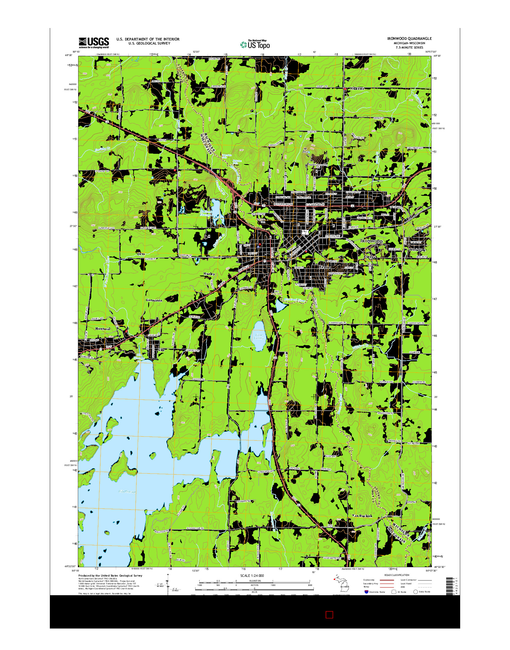 USGS US TOPO 7.5-MINUTE MAP FOR IRONWOOD, MI-WI 2014