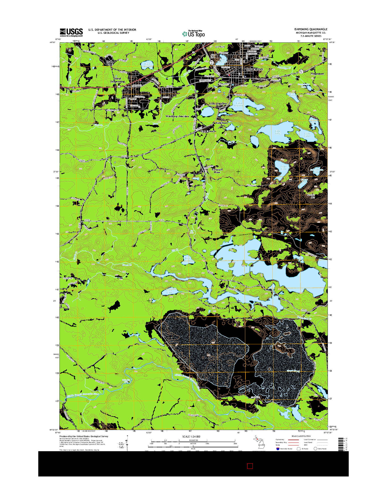 USGS US TOPO 7.5-MINUTE MAP FOR ISHPEMING, MI 2014