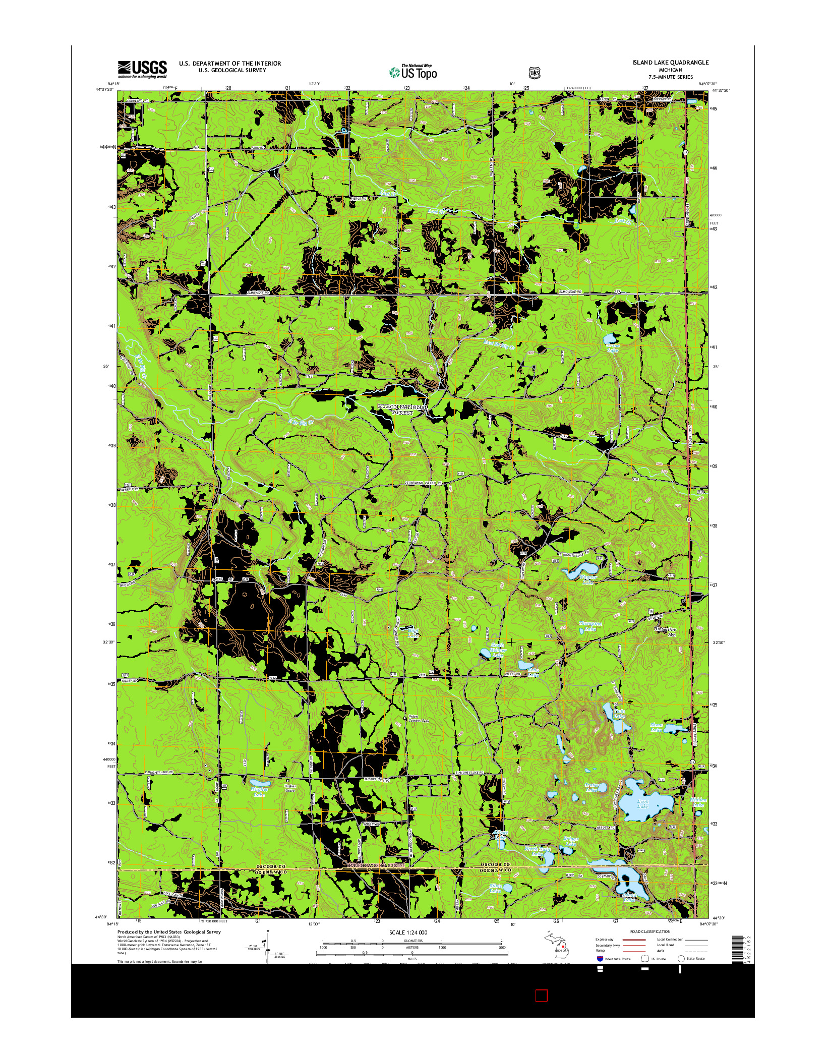 USGS US TOPO 7.5-MINUTE MAP FOR ISLAND LAKE, MI 2014