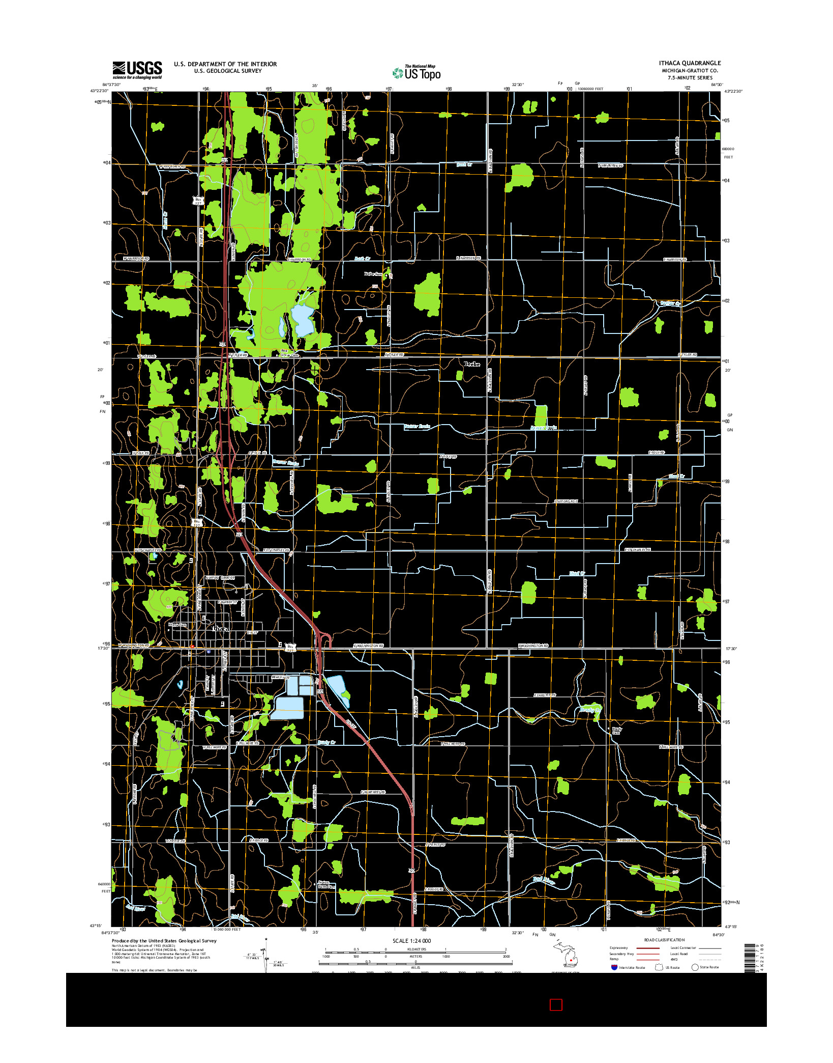 USGS US TOPO 7.5-MINUTE MAP FOR ITHACA, MI 2014