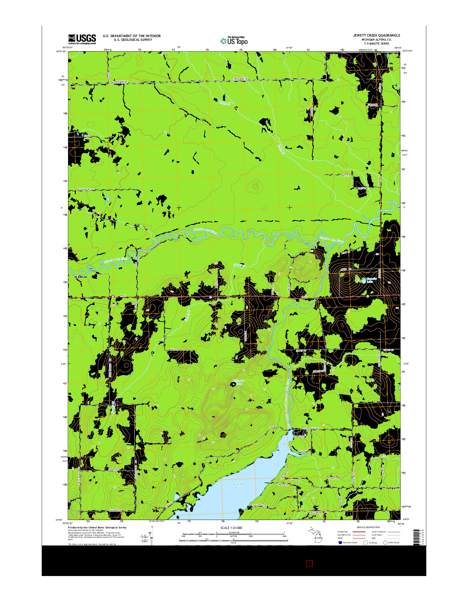 USGS US TOPO 7.5-MINUTE MAP FOR JEWETT CREEK, MI 2014