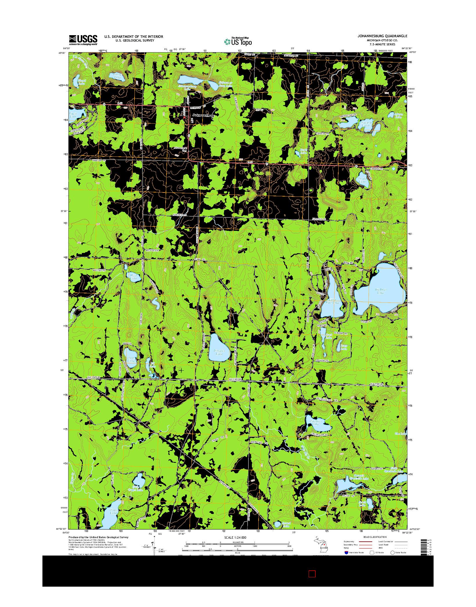 USGS US TOPO 7.5-MINUTE MAP FOR JOHANNESBURG, MI 2014