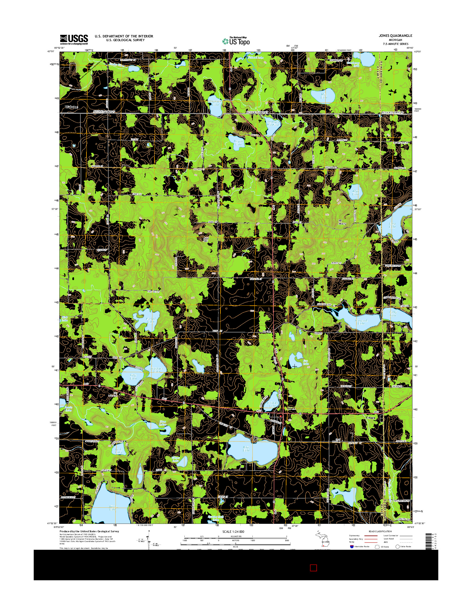USGS US TOPO 7.5-MINUTE MAP FOR JONES, MI 2014