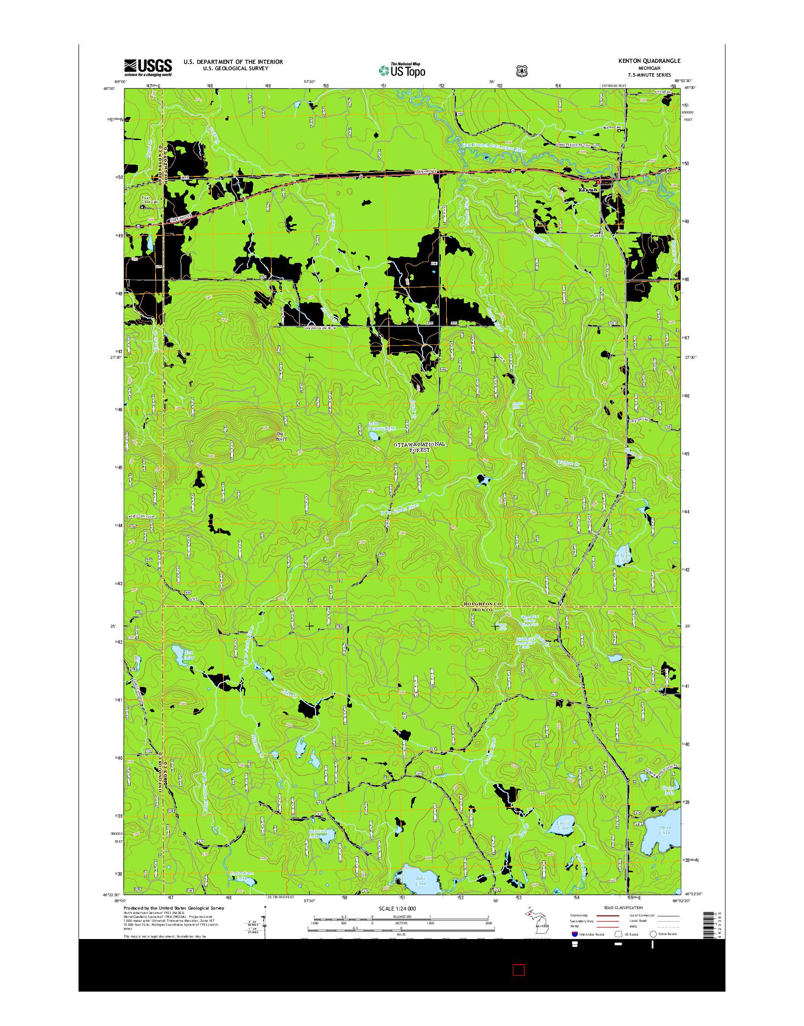 USGS US TOPO 7.5-MINUTE MAP FOR KENTON, MI 2014