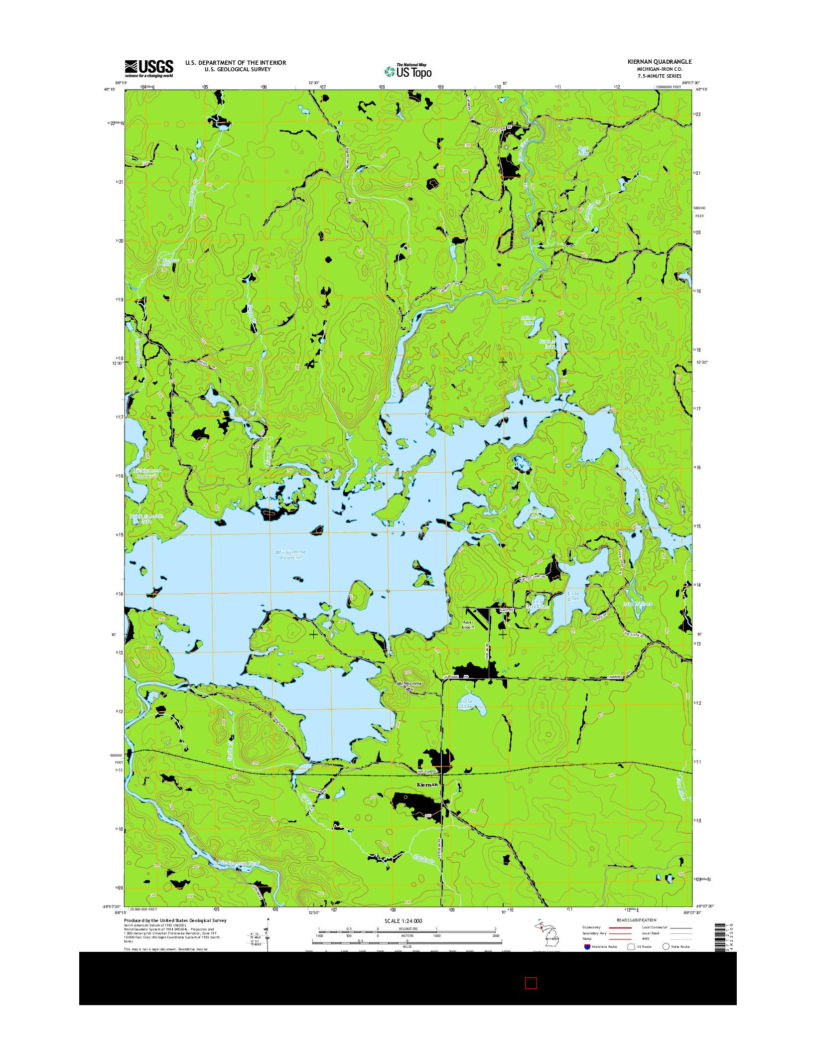 USGS US TOPO 7.5-MINUTE MAP FOR KIERNAN, MI 2014