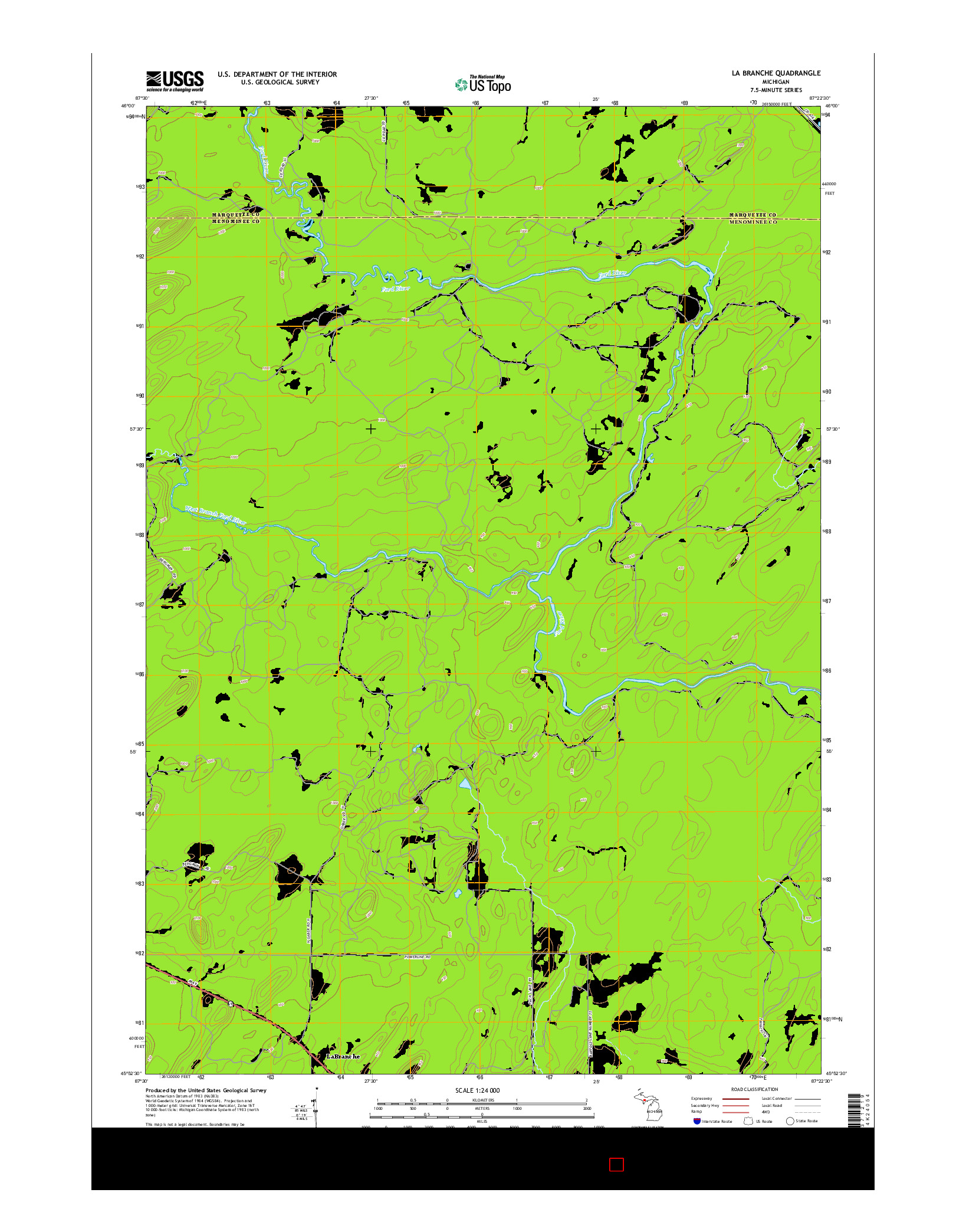 USGS US TOPO 7.5-MINUTE MAP FOR LA BRANCHE, MI 2014