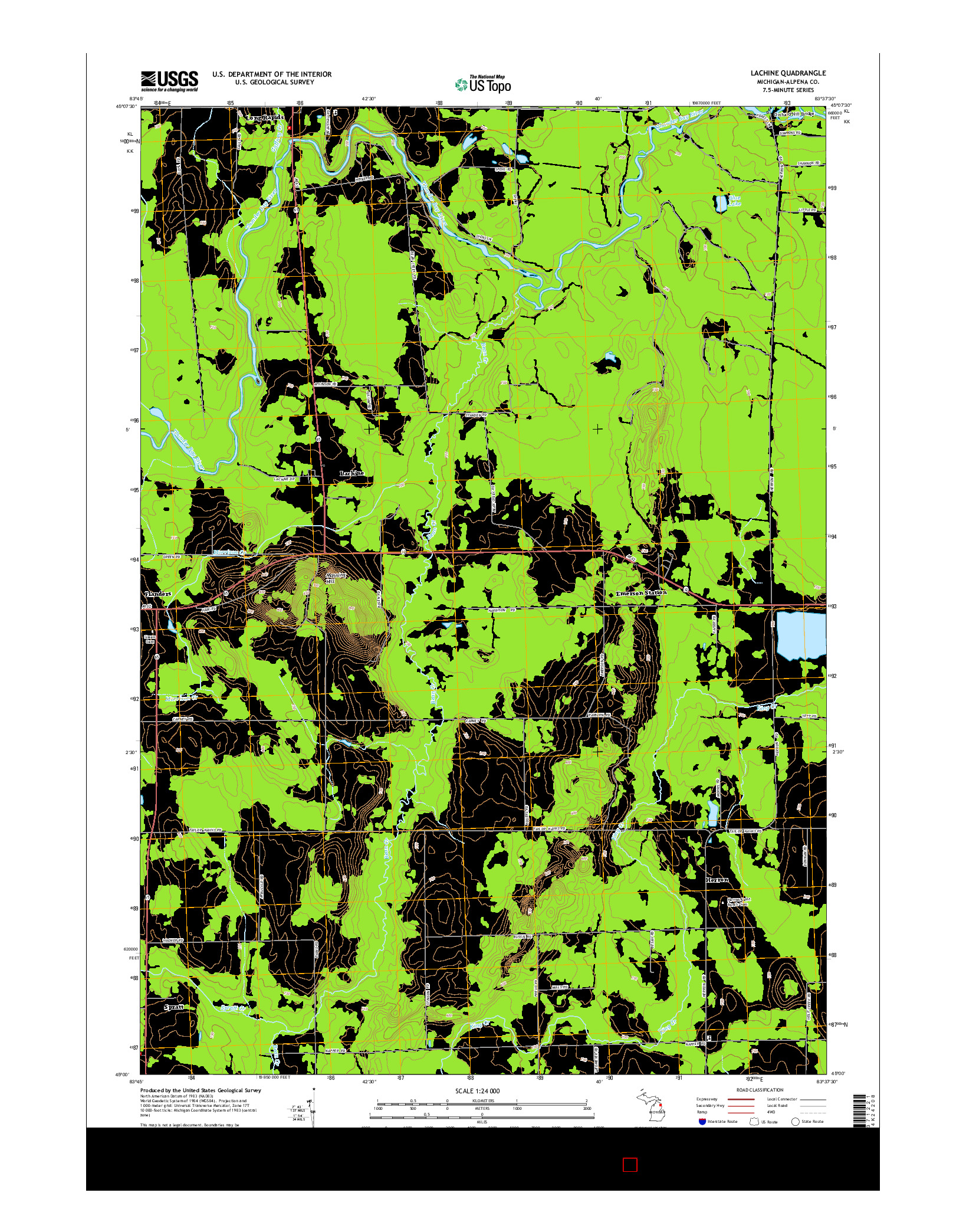 USGS US TOPO 7.5-MINUTE MAP FOR LACHINE, MI 2014