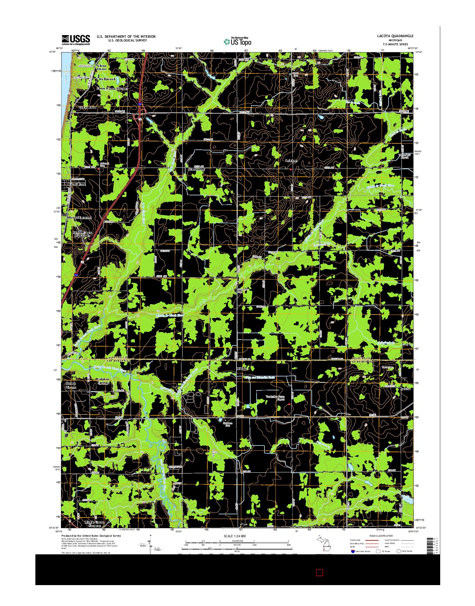 USGS US TOPO 7.5-MINUTE MAP FOR LACOTA, MI 2014