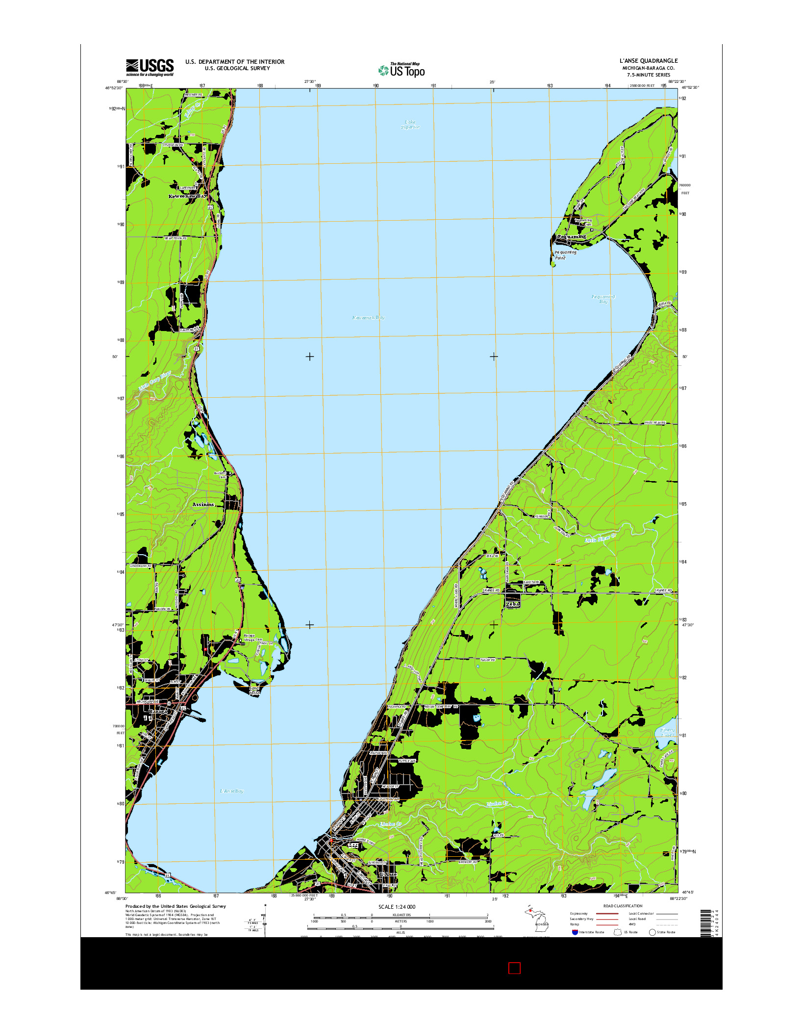 USGS US TOPO 7.5-MINUTE MAP FOR L'ANSE, MI 2014