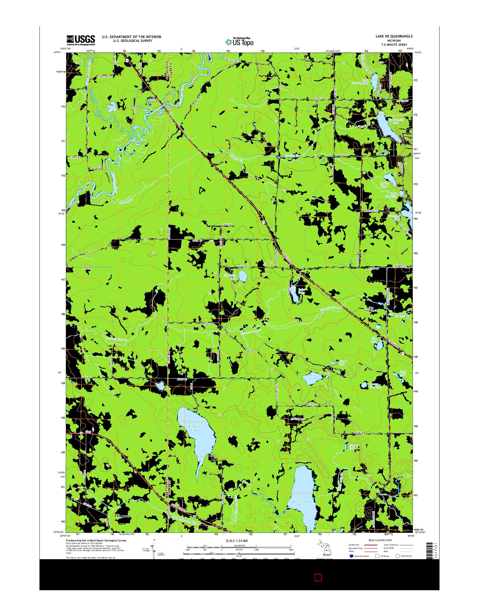 USGS US TOPO 7.5-MINUTE MAP FOR LAKE NE, MI 2014