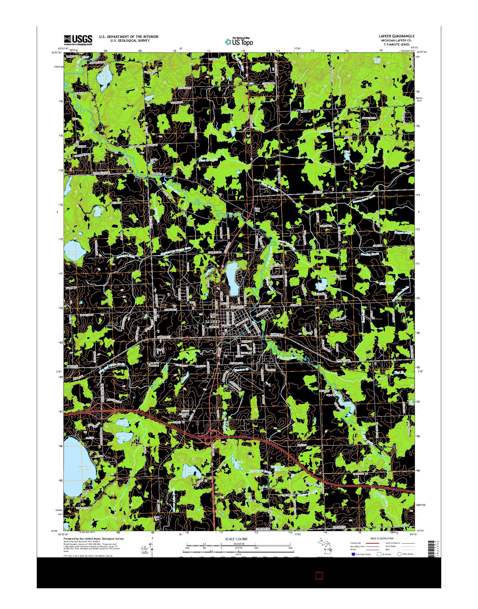 USGS US TOPO 7.5-MINUTE MAP FOR LAPEER, MI 2014