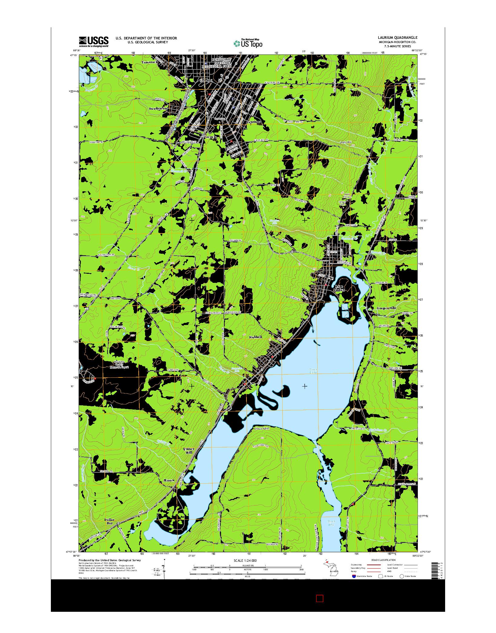 USGS US TOPO 7.5-MINUTE MAP FOR LAURIUM, MI 2014