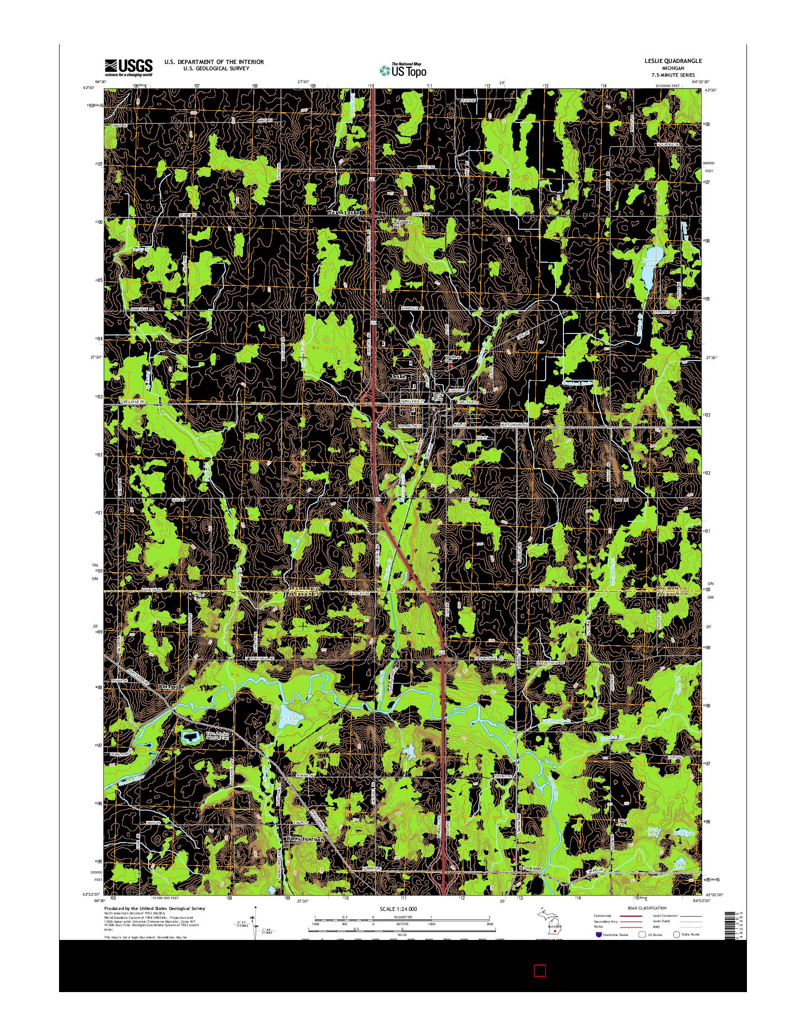 USGS US TOPO 7.5-MINUTE MAP FOR LESLIE, MI 2014