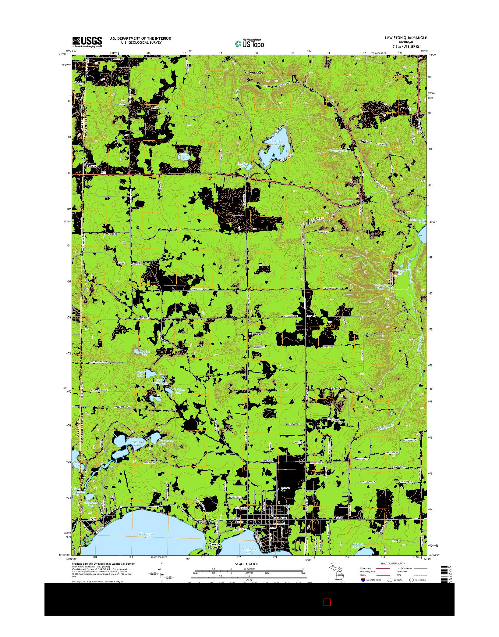USGS US TOPO 7.5-MINUTE MAP FOR LEWISTON, MI 2014