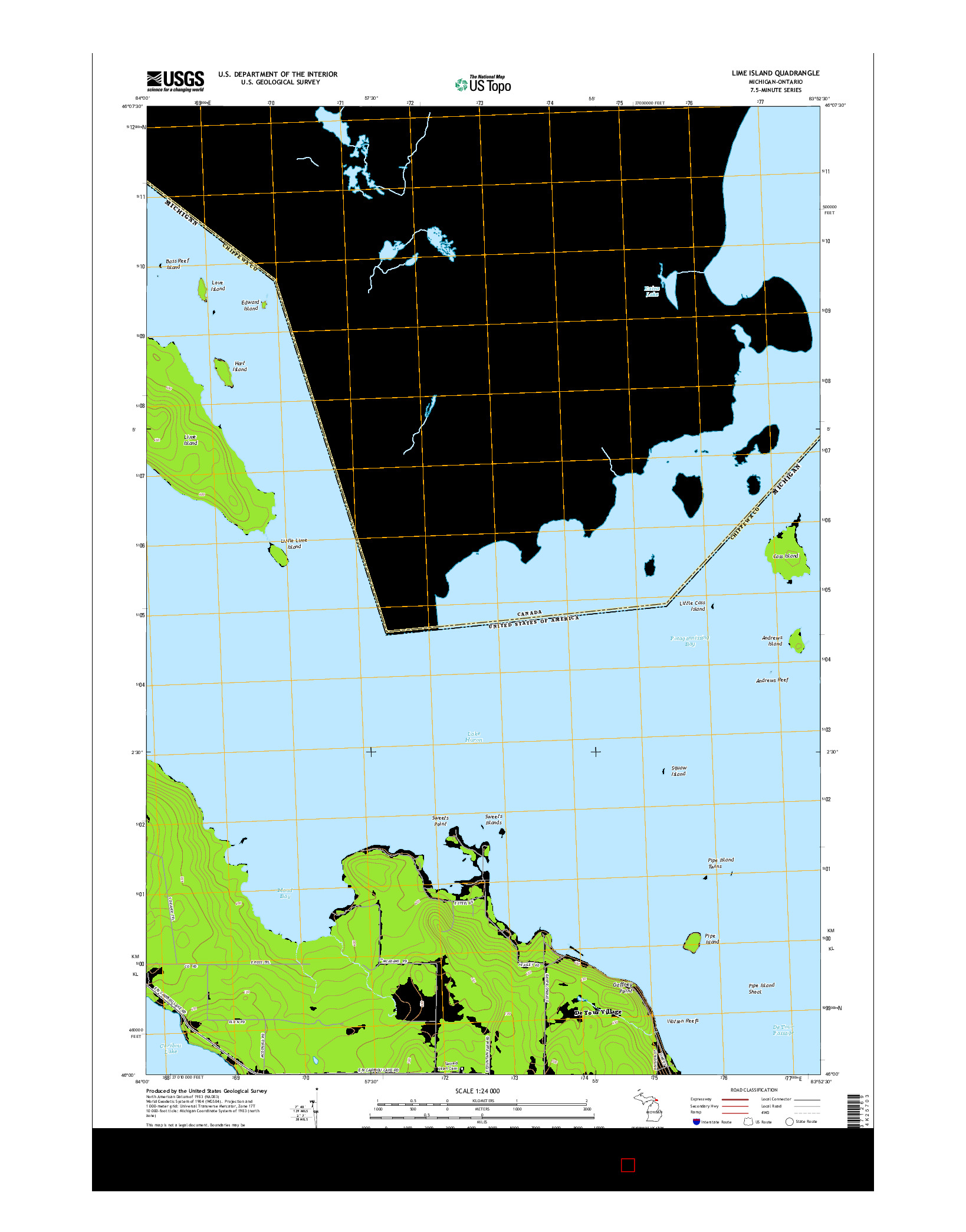 USGS US TOPO 7.5-MINUTE MAP FOR LIME ISLAND, MI-ON 2014
