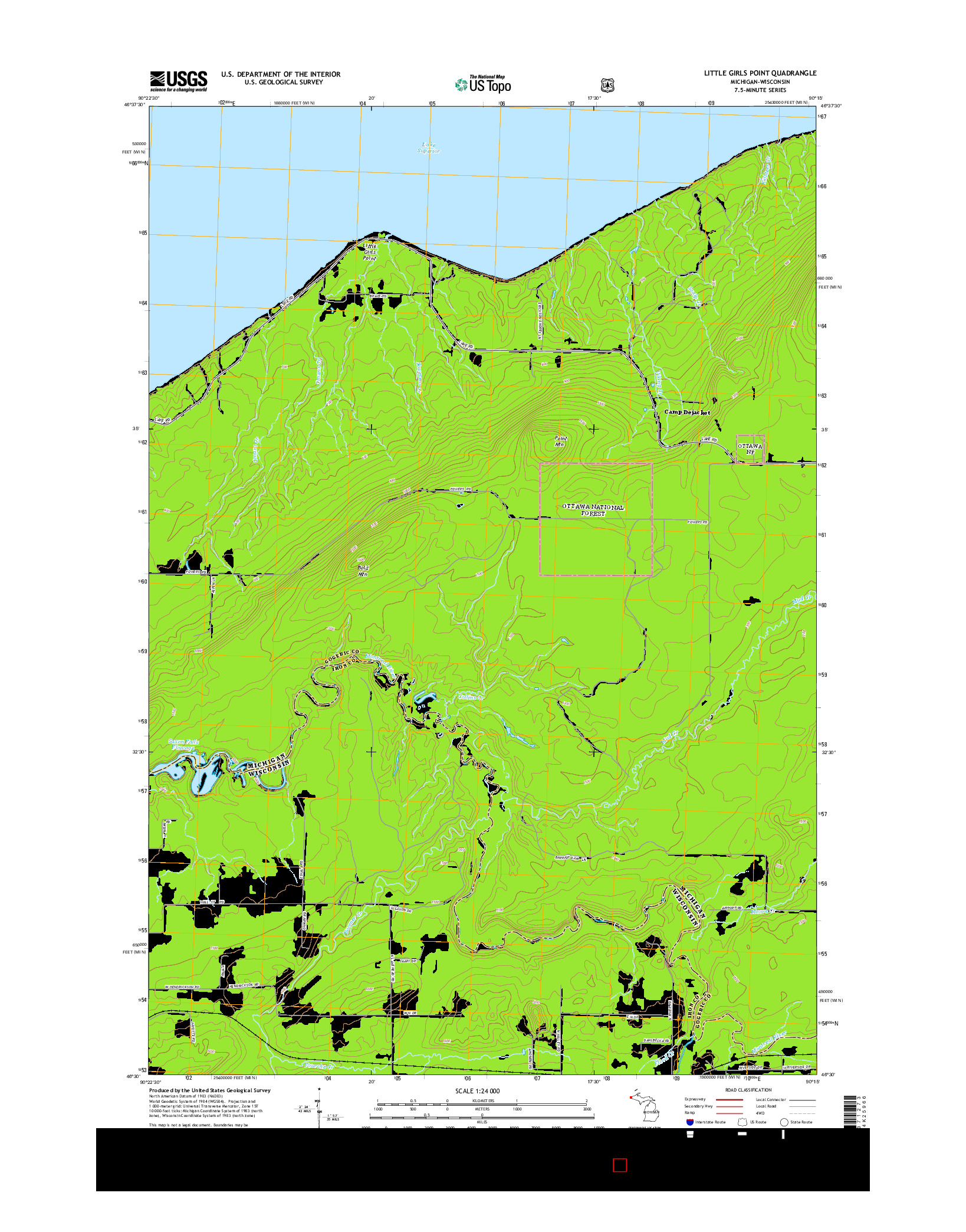 USGS US TOPO 7.5-MINUTE MAP FOR LITTLE GIRLS POINT, MI-WI 2014