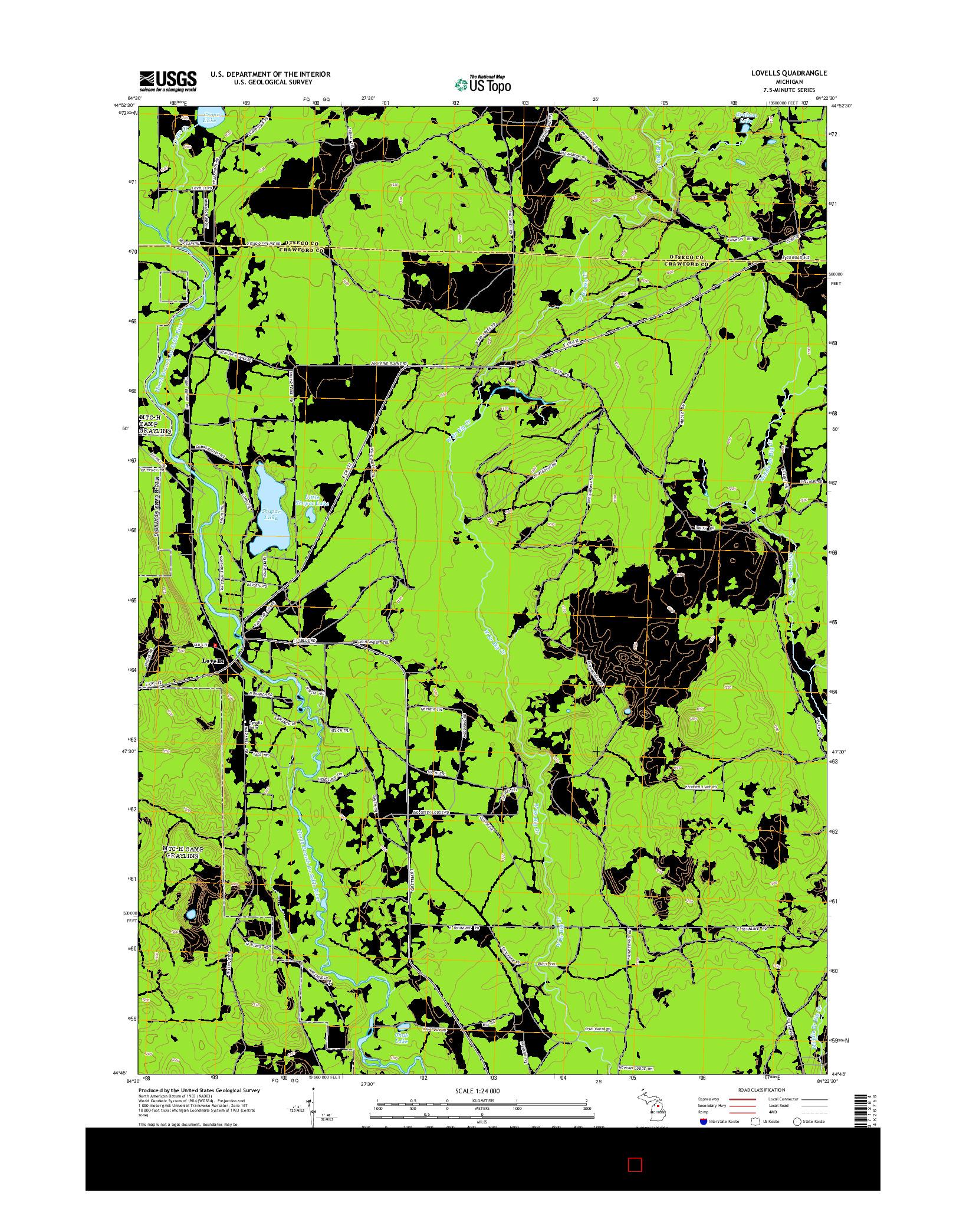 USGS US TOPO 7.5-MINUTE MAP FOR LOVELLS, MI 2014