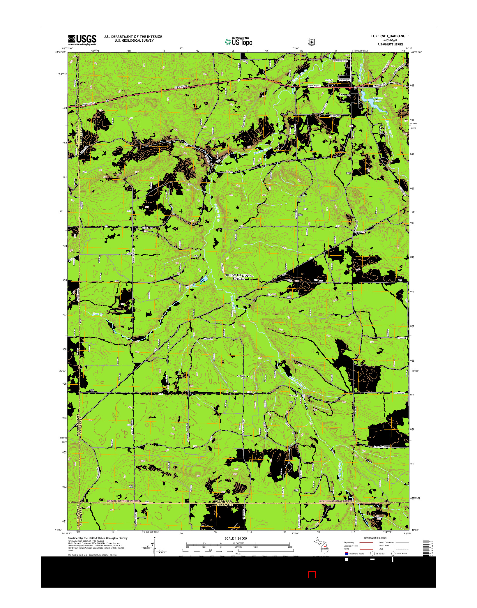 USGS US TOPO 7.5-MINUTE MAP FOR LUZERNE, MI 2014