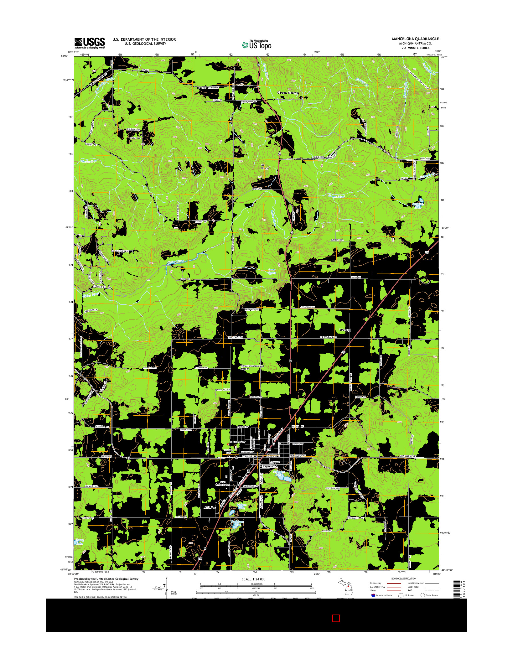 USGS US TOPO 7.5-MINUTE MAP FOR MANCELONA, MI 2014