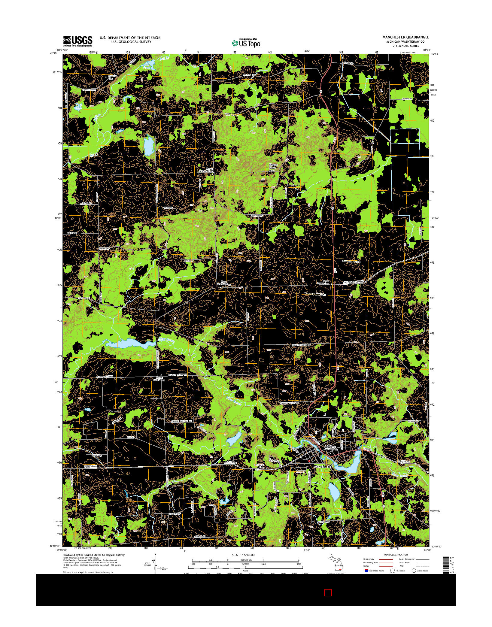 USGS US TOPO 7.5-MINUTE MAP FOR MANCHESTER, MI 2014