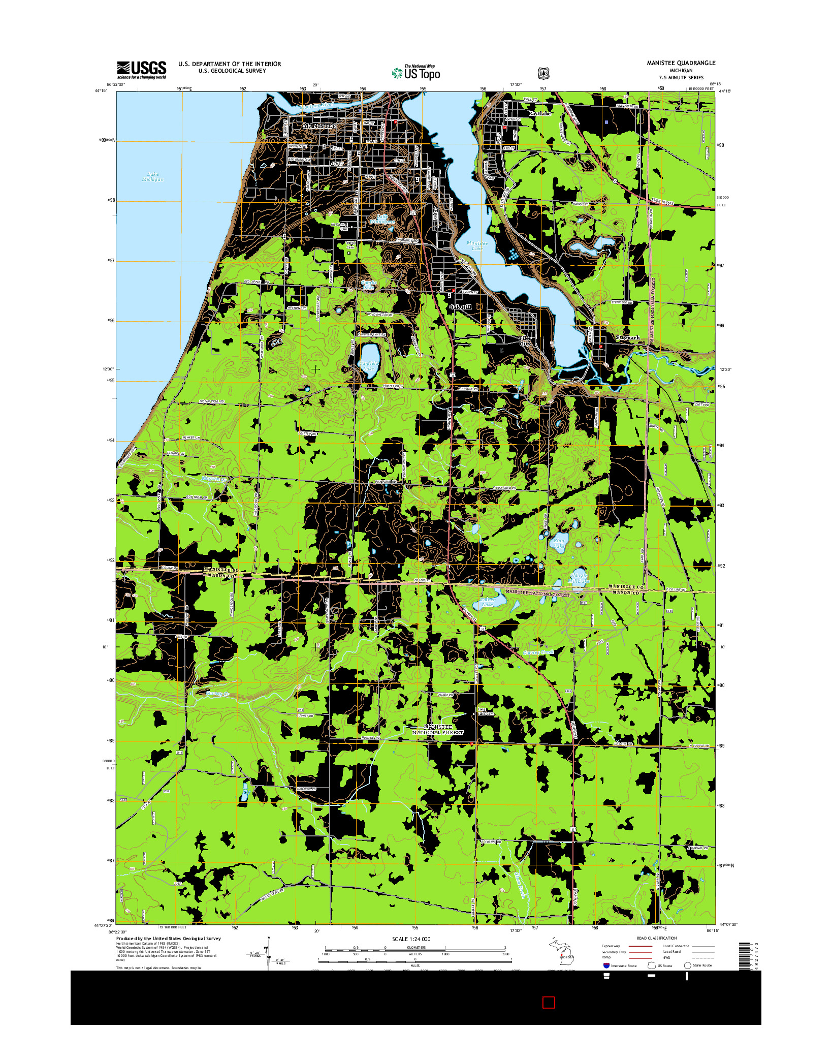 USGS US TOPO 7.5-MINUTE MAP FOR MANISTEE, MI 2014