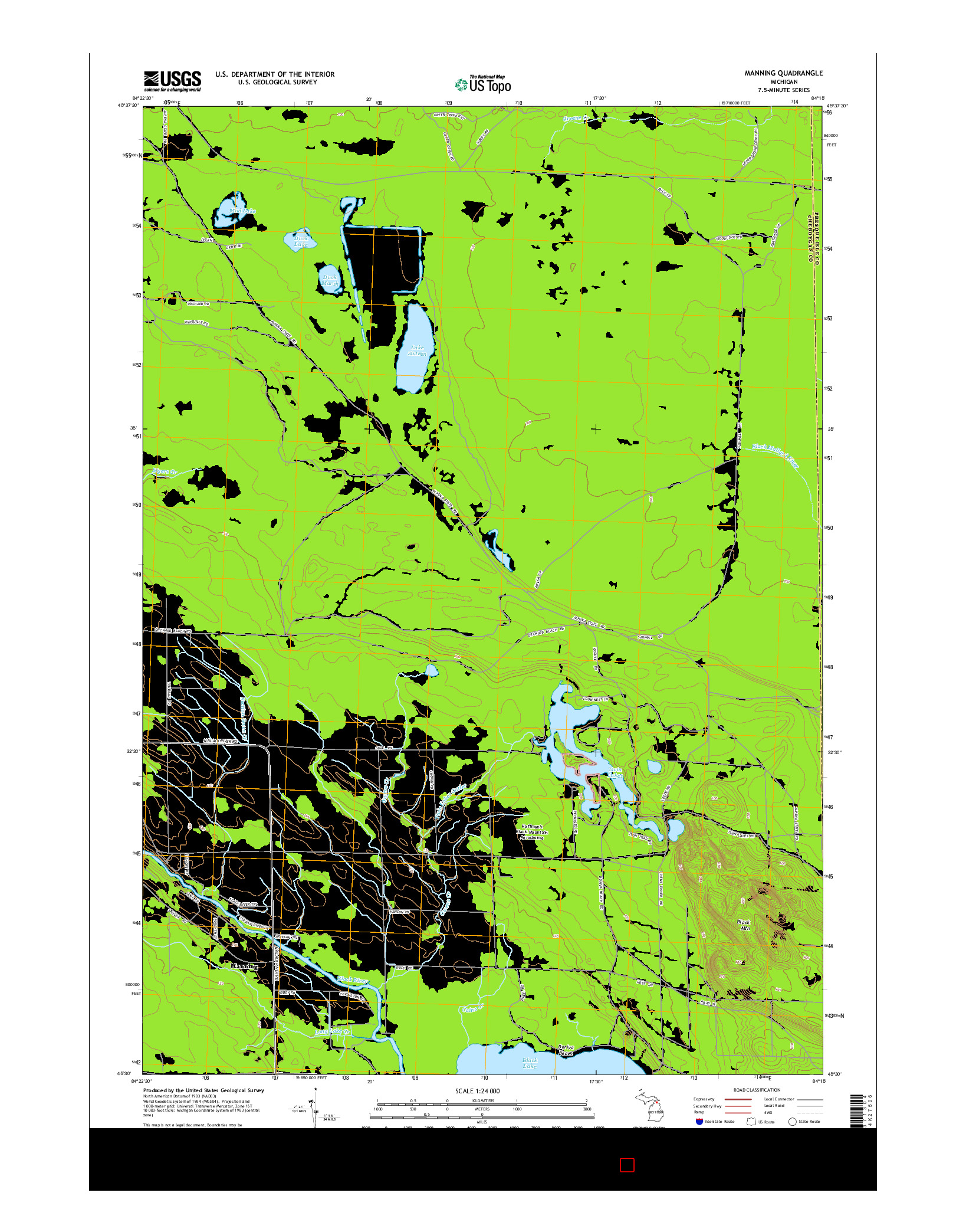 USGS US TOPO 7.5-MINUTE MAP FOR MANNING, MI 2014