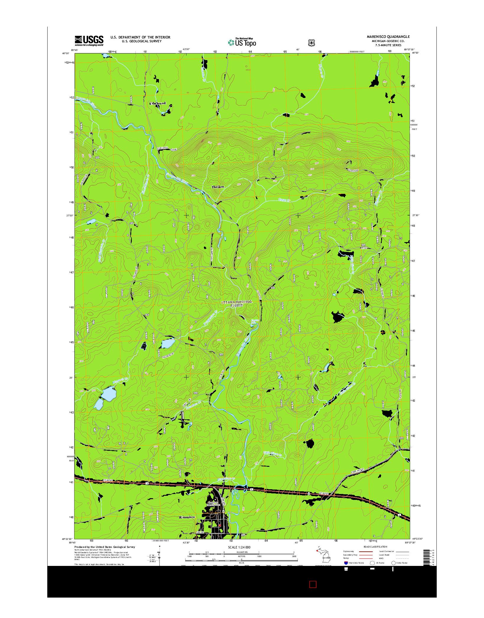 USGS US TOPO 7.5-MINUTE MAP FOR MARENISCO, MI 2014