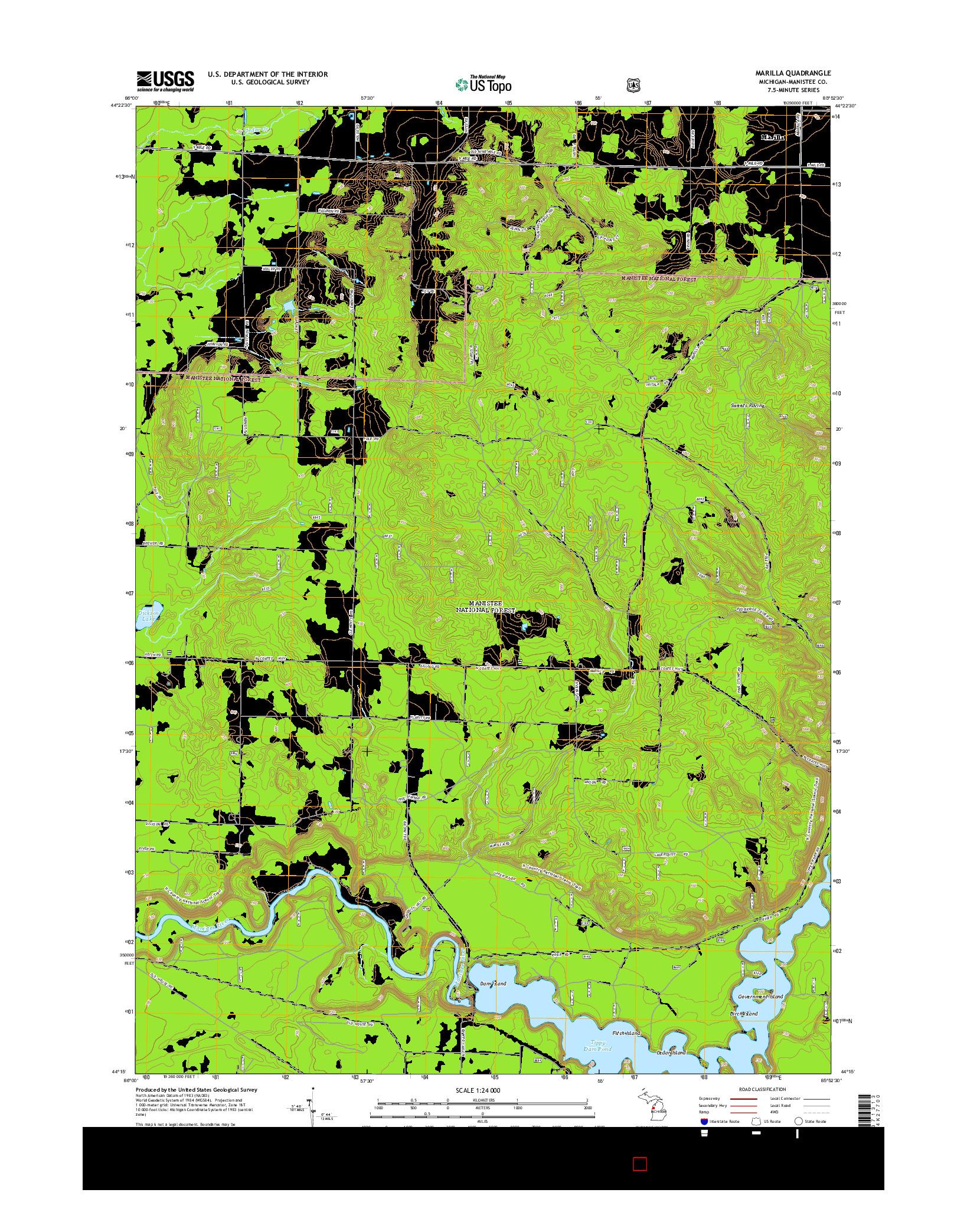 USGS US TOPO 7.5-MINUTE MAP FOR MARILLA, MI 2014