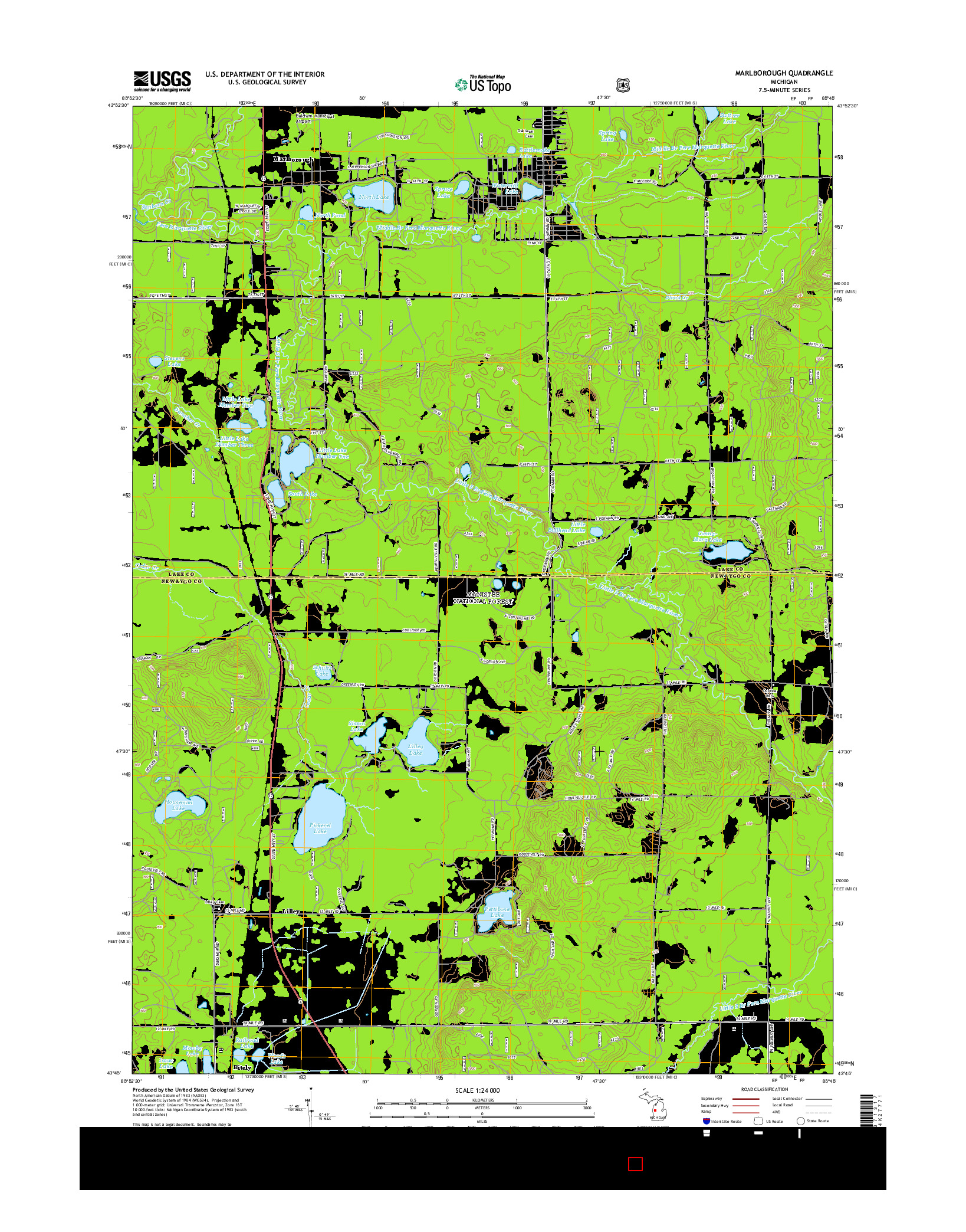 USGS US TOPO 7.5-MINUTE MAP FOR MARLBOROUGH, MI 2014