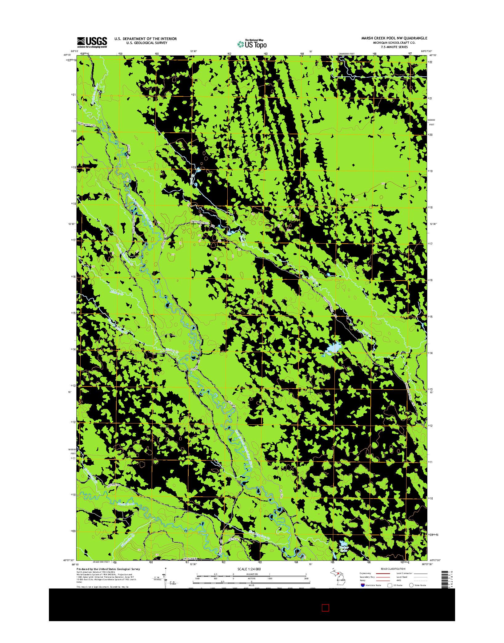 USGS US TOPO 7.5-MINUTE MAP FOR MARSH CREEK POOL NW, MI 2014