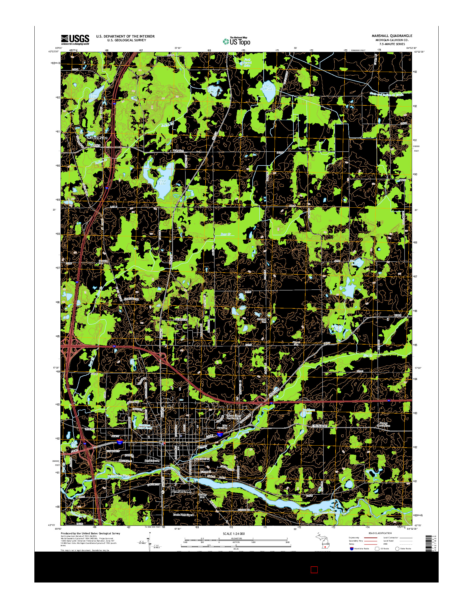 USGS US TOPO 7.5-MINUTE MAP FOR MARSHALL, MI 2014