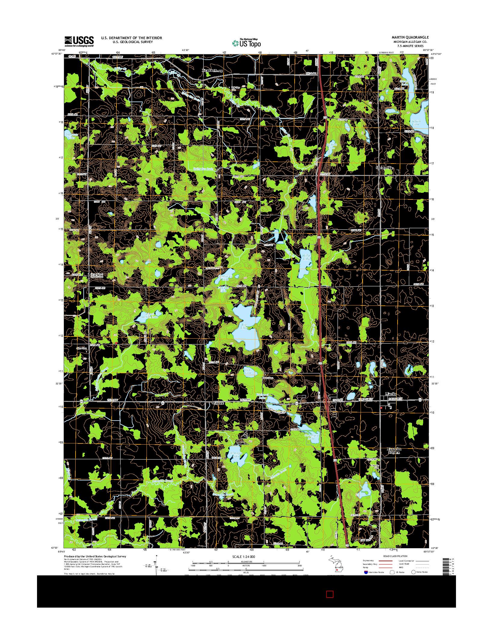 USGS US TOPO 7.5-MINUTE MAP FOR MARTIN, MI 2014