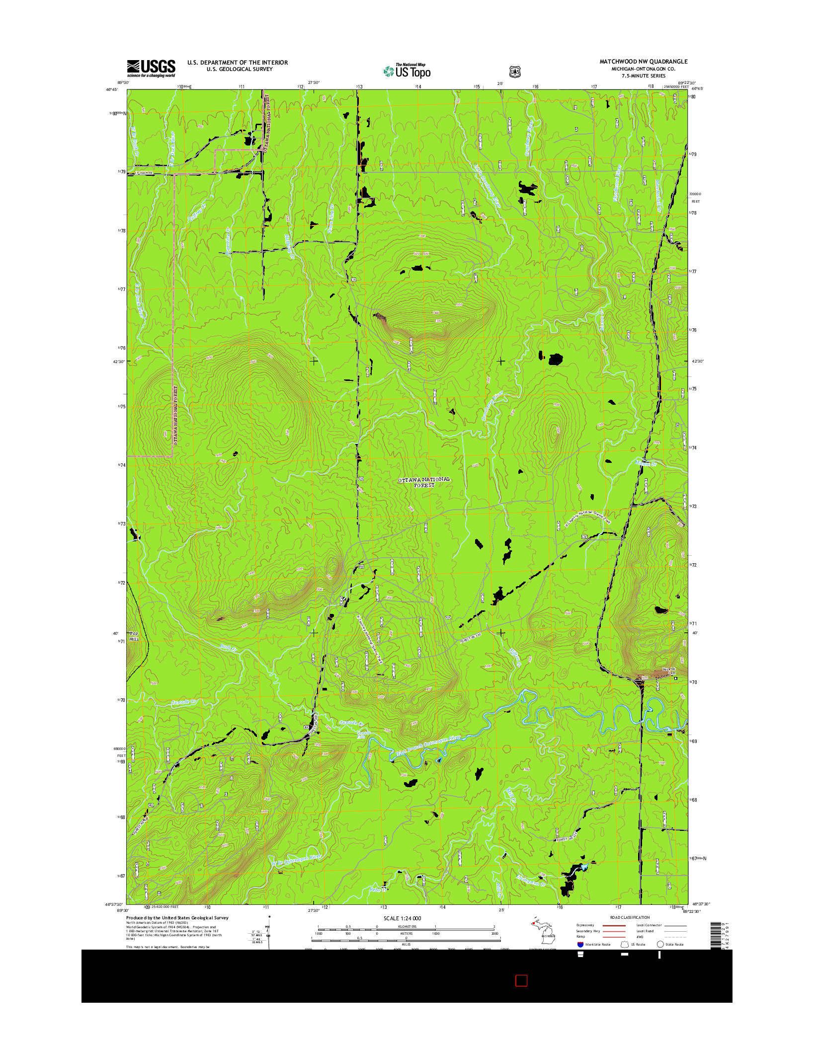 USGS US TOPO 7.5-MINUTE MAP FOR MATCHWOOD NW, MI 2014