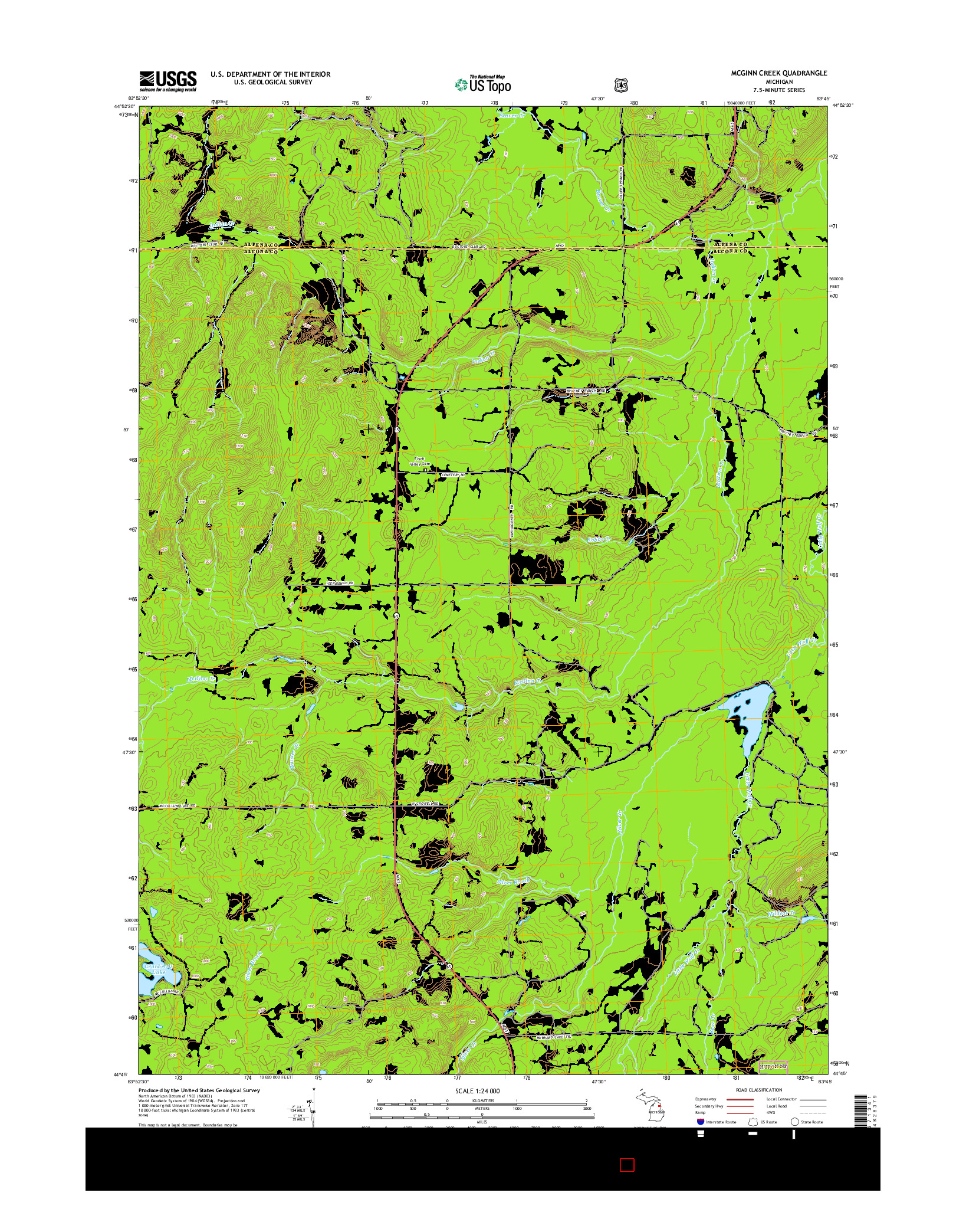 USGS US TOPO 7.5-MINUTE MAP FOR MCGINN CREEK, MI 2014