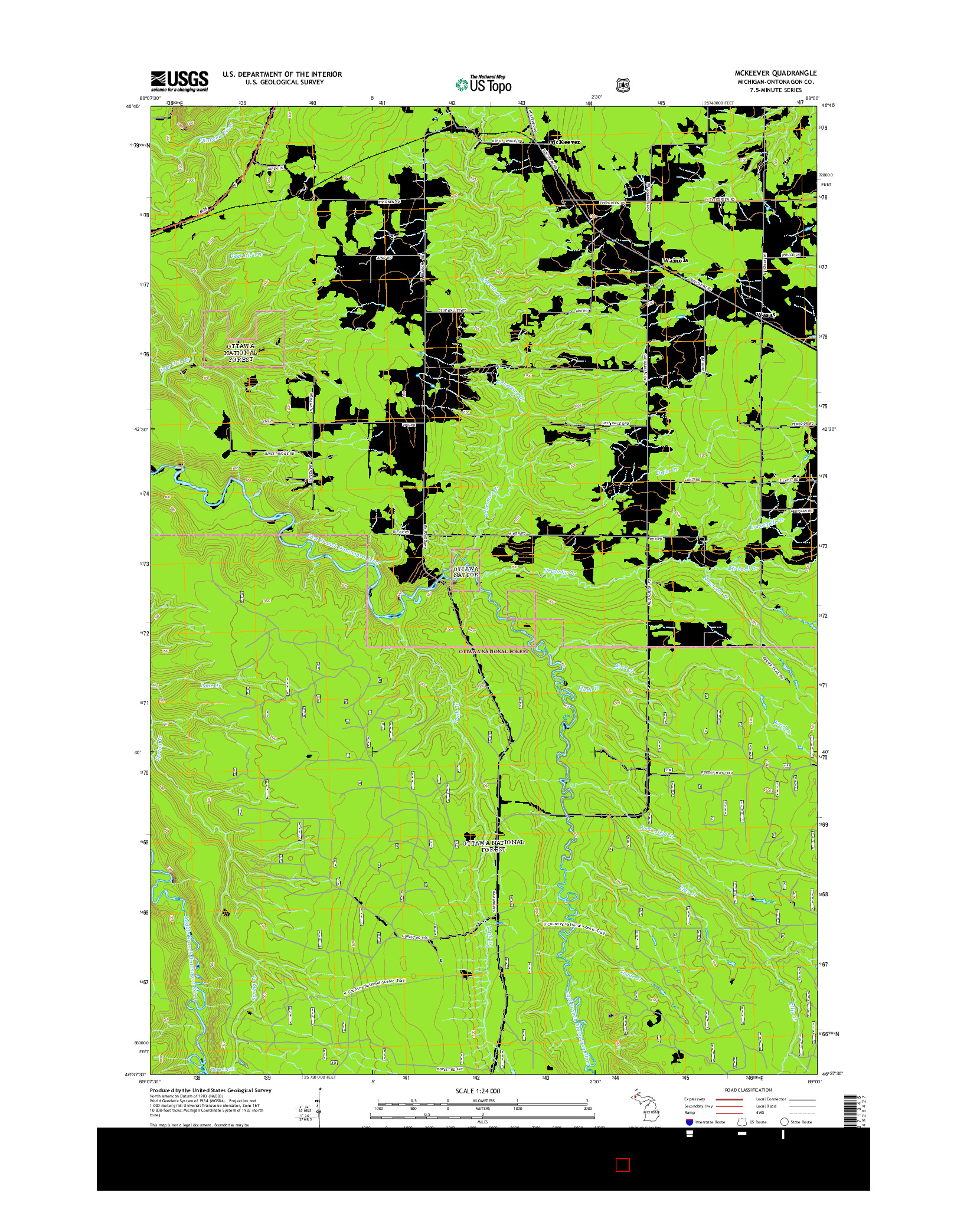 USGS US TOPO 7.5-MINUTE MAP FOR MCKEEVER, MI 2014