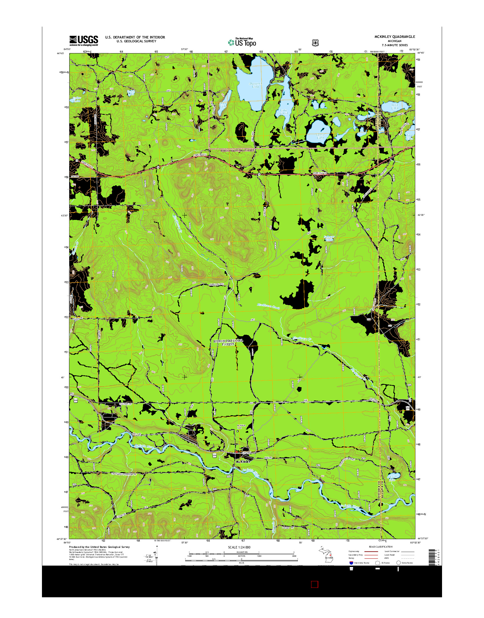 USGS US TOPO 7.5-MINUTE MAP FOR MCKINLEY, MI 2014