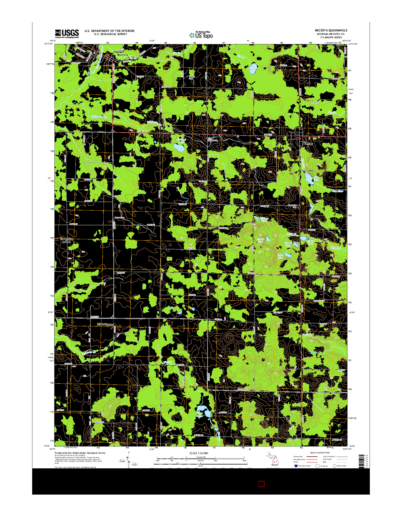 USGS US TOPO 7.5-MINUTE MAP FOR MECOSTA, MI 2014