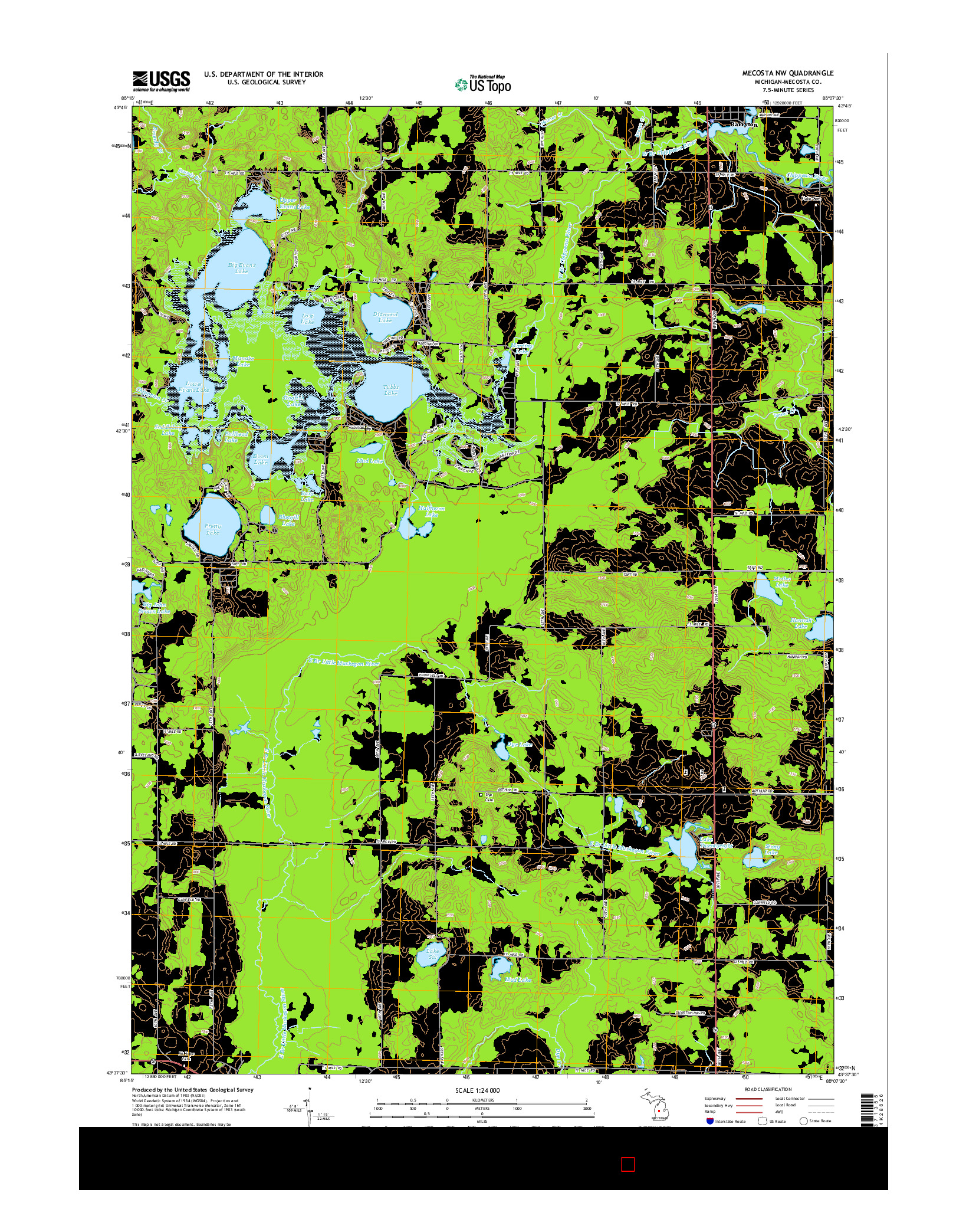 USGS US TOPO 7.5-MINUTE MAP FOR MECOSTA NW, MI 2014
